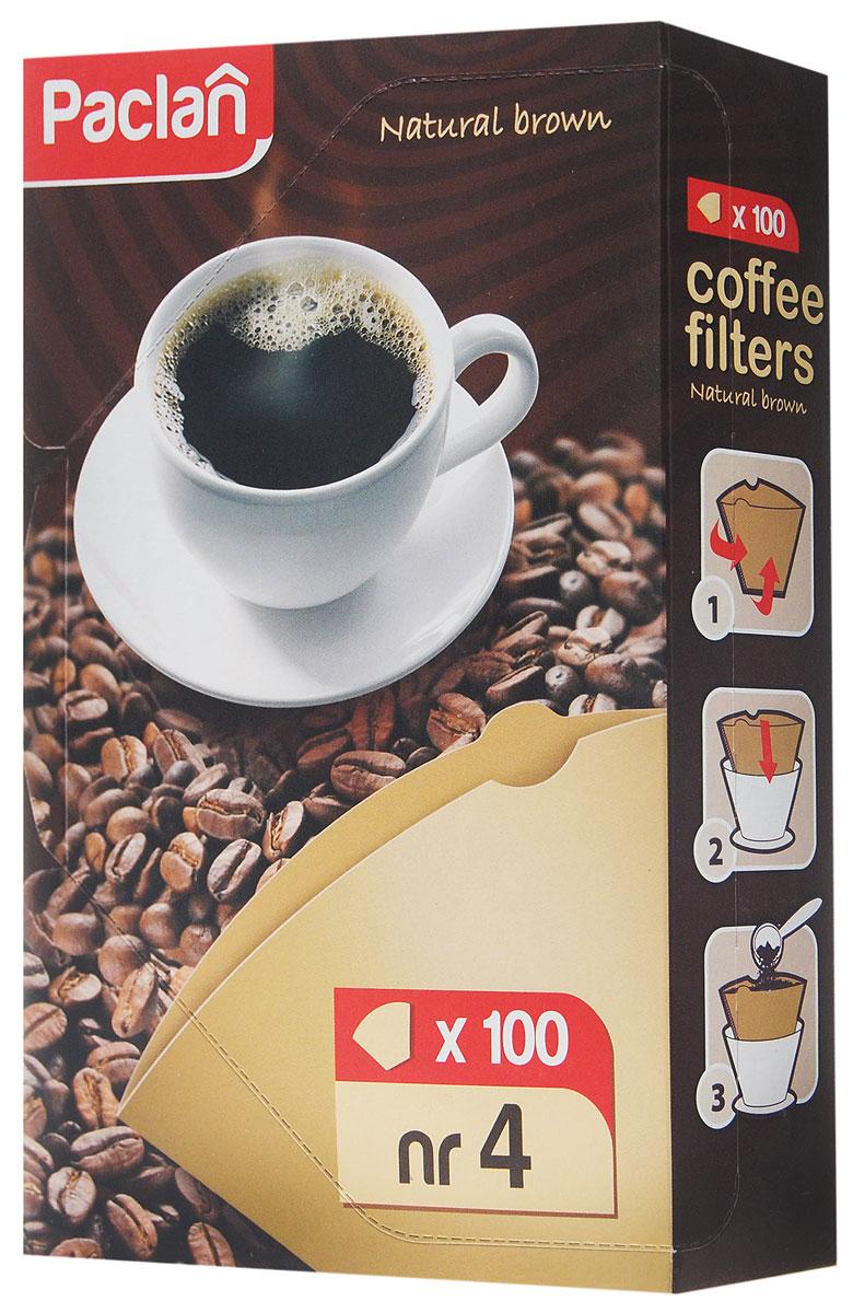 Набор фильтров для кофе Paclan, небеленые, размер 4, 100 шт135012/135011/135010/304004Фильтры Paclan размера 4 изготовлены из неотбеленной бумаги (100% целлюлоза) и без использования клея. Они предназначены для приготовления кофе в стандартных моделях кофеварок капельного типа большого размера (на 8-12 чашек). Микропористая структура фильтра сохраняет приятный аромат свежемолотого кофе.Фильтры предназначены для одноразового применения.