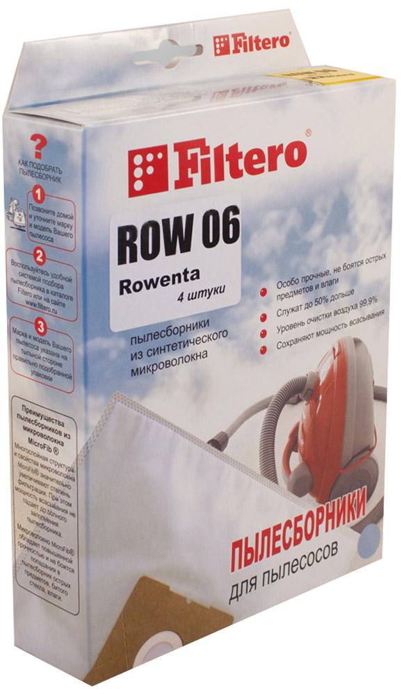 Filtero ROW 06 Экстра мешок-пылесборник 4 штROW 06 ЭкстраМешки-пылесборники Filtero ROW 06 Экстра очень прочные и произведены из синтетического микроволокна MicroFib. Мешки не боятся острых предметов и влаги, собирают до 50% больше пыли и обеспечивают уровень очистки воздуха 99,9%, что значительно выше, чем у бумажных пылесборников. При этом мощность всасывания пылесоса сохраняется в течение всего периода службы пылесборника.Антибактериальная пропитка Anti-Bac защищает от аллергенов и угнетает размножение бактерий в мешке. Рекомендуются для семей с детьми, людей, страдающих аллергией и заболеваниями дыхательных путей.