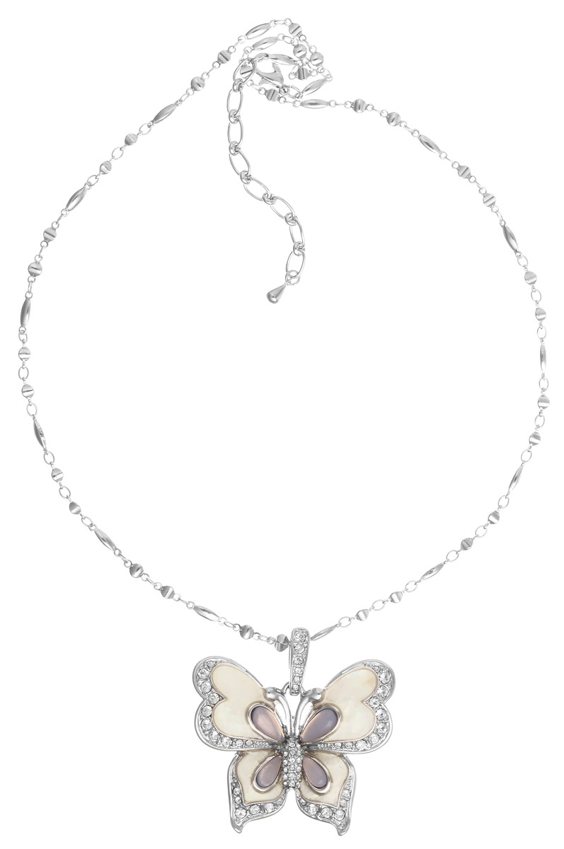 Колье Art-Silver, цвет: серебристый. MS05618N-R-A-1836Колье (короткие одноярусные бусы)Великолепное колье Art-Silver выполнено из бижутерного сплава. Колье представляет собой цепочку оригинального плетения, которая дополнена подвеской в виде бабочки. Подвеска украшена стразами, вставками из перламутра и эмали. Изделие застегивается на замок-карабин с регулирующей длину цепочкой.Изысканное колье станет оригинальным аксессуаром, как для повседневного, так и для вечернего наряда, оно подчеркнет вашу индивидуальность и неповторимый стиль.