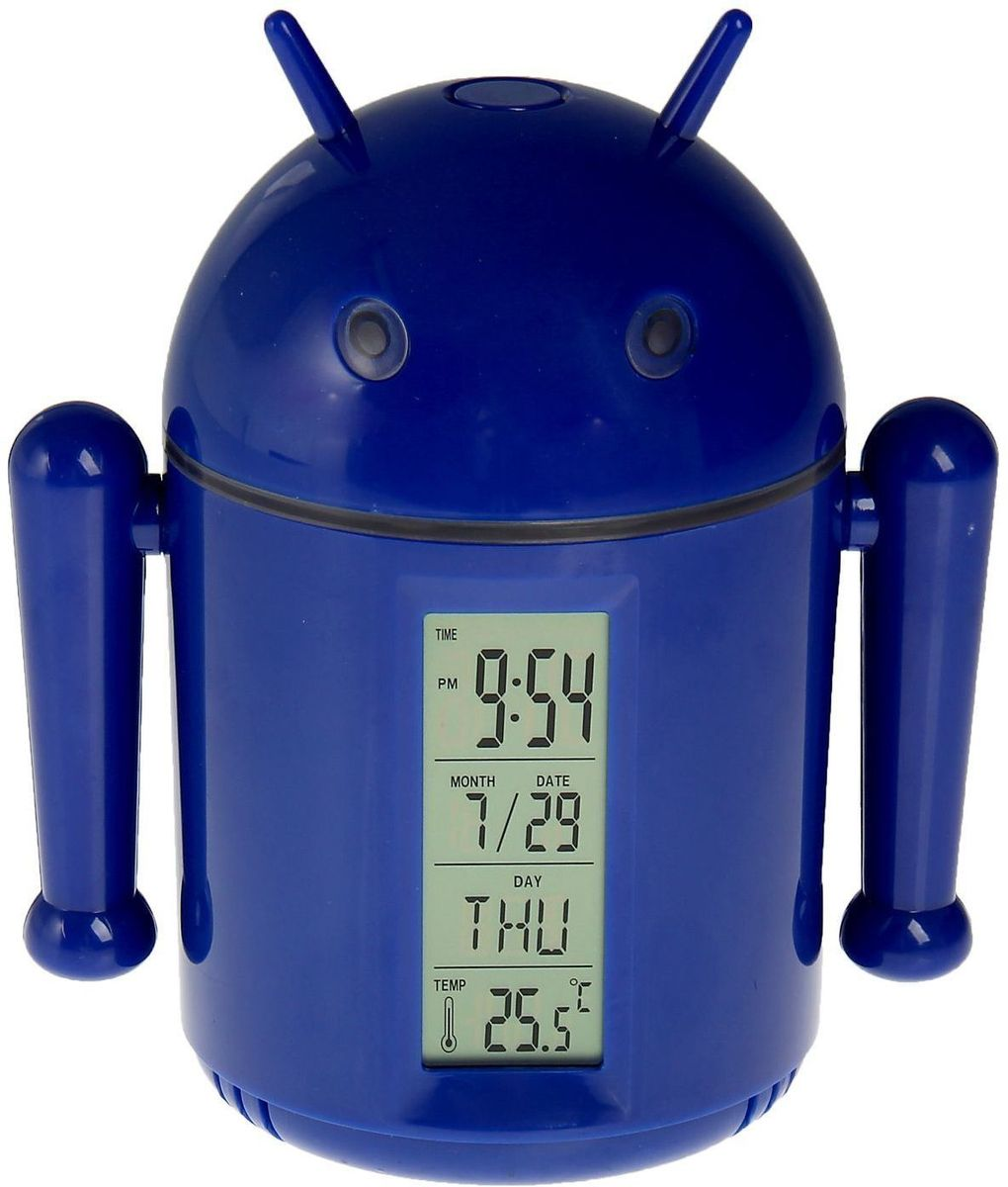 Sima-land Лампа настольная сенсорная Робот цвет синий1193589Сегодня особо ценятся уникальные креативные предметы интерьера, и настольная сенсорная лампа Sima-land Робот как раз из их числа. Лампа выполнена из качественного пластика в виде забавного зеленого робота с рожками. Голова робота поднимается над корпусом с помощью телескопических держателей и может поворачиваться под любым углом. На нижней поверхности головы робота расположены 20 ярких светодиодов, которые включаются с помощью кнопки на его макушке.Если провести пальцем или рукой между глаз робота, то они будут светиться. Руки робота подвижны. На лицевой стороне корпуса расположен жидкокристаллический дисплей, отображающий информацию о времени суток, дате и температуре окружающего воздуха. На нижней поверхности корпуса есть кнопочная панель для настройки часов, будильника, календаря и переключения отображения температуры в градусах Цельсия или Фаренгейта.Оригинальную лампу можно установить на стол или любую ровную поверхность, можно подвесить с помощью ремешка (в комплекте) или прикрепить к металлической поверхности за счет встроенного в основание корпуса магнита. Эта удивительная лампа станет украшением вашего интерьера и поднимет настроение.Лампа работает от встроенного аккумулятора на 1200 mAh.За счет его значительной емкости лампу также можно использовать для подзарядки смартфона или другого устройства через USB (кабель зарядки в комплекте). Аккумулятор заряжается от порта USB с помощью прилагаемого кабеля.