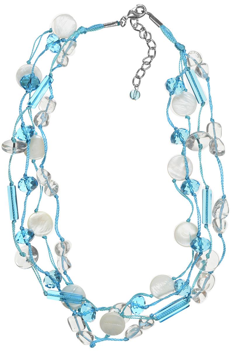 Бусы Art-Silver, цвет: белый, голубой. TNL047-506Бусы-ниткаСтильные бусы Art-Silver не оставят равнодушной ни одну любительницу изысканных и необычных украшений. Бусы представляют собой основу из четырех прочных нитей, на которые нанизаны круглые бусины перламутра и кристаллы различной формы. Бусины и кристаллы тщательно подобраны по форме, размеру и цветовой гамме, благодаря чему они прекрасно гармонируют друг с другом. Изделие застегивается на практичный замок-карабин, длина украшения меняется за счет специальной цепочки. Такие бусы позволят вам с легкостью воплотить самую смелую фантазию и создать собственный неповторимый образ.