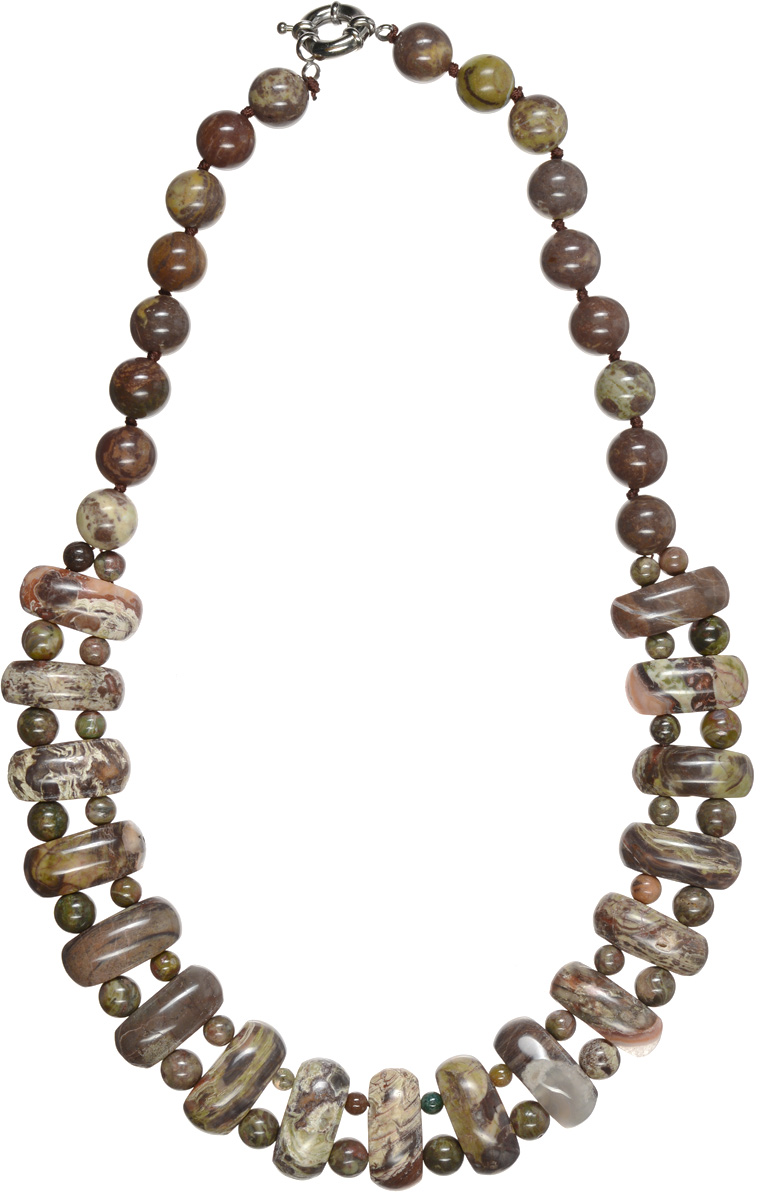 Бусы Art-Silver, цвет: коричневый, темно-зеленый. СМЦ57-9-956Ожерелье (короткие многоярусные бусы)Стильные бусы Art-Silver из натурального агата не оставят равнодушной ни одну любительницу изысканных и необычных украшений. Бусы представляют собой нить из круглых и плоских бусин прямоугольной формы коричневых и темно-зеленых оттенков и снабжены надежным шпренгельным замком. Такие бусы позволят вам с легкостью воплотить самую смелую фантазию и создать собственный неповторимый образ.