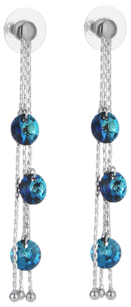 Серьги Art-Silver, цвет: серебряный, синий. 00886-887Серьги-цепочкиОригинальные серьги Art-Silver выполнены из бижутерного сплава, с легкостью завершат ваш образ. В качестве основы украшения использован замок-гвоздик с фиксатором из металла и пластика. Серьги выполнены в виде трех цепочек, украшенных крупными элементами из кубического циркония синего цвета .Стильные серьги придадут вашему образу изюминку, подчеркнут красоту и изящество вечернего платья или преобразят повседневный наряд.