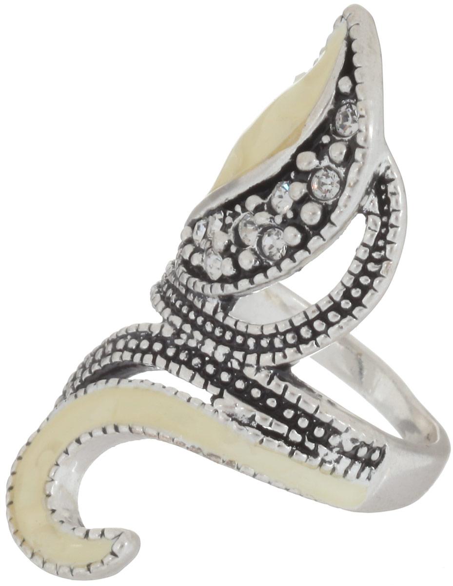 Кольцо Fashion House, цвет: серебристый. FH30431. Размер 17Коктейльное кольцоСтильное кольцо Fashion House изготовлено из металла. Изделие оформлено стразами и вставками из эмали.Стильное кольцо придаст вашему образу изюминку и подчеркнет индивидуальность.