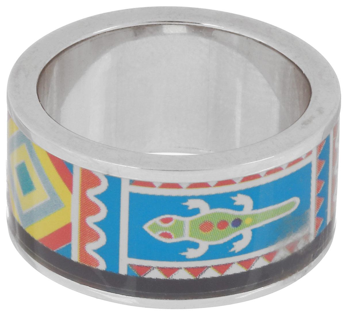 Кольцо Art-Silver, цвет: серебристый, голубой, мультиколор. ФК103-320. Размер 18,5Коктейльное кольцоВеликолепное кольцо Art-Silver изготовлено из бижутерного сплава. Изделие с покрытием из эмали оформлено принтом в виде оригинального орнамента.Стильное кольцо придаст вашему образу изюминку и подчеркнет индивидуальность.