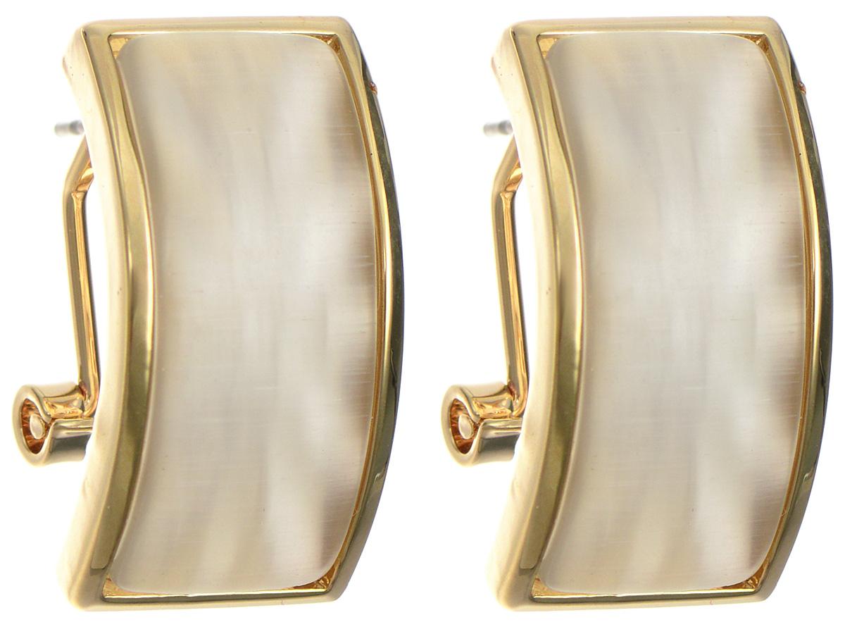 Серьги Art-Silver, цвет: золотистый. 03721-621Серьги с подвескамиОригинальные серьги Art-Silver, выполнены из бижутерного сплава с покрытием под золото. В качестве основы украшения использован итальянский замок. Декоративный элемент изделия дополнен кошачим глазом. Стильные серьги придадут вашему образу изюминку, подчеркнут красоту и изящество вечернего платья или преобразят повседневный наряд.