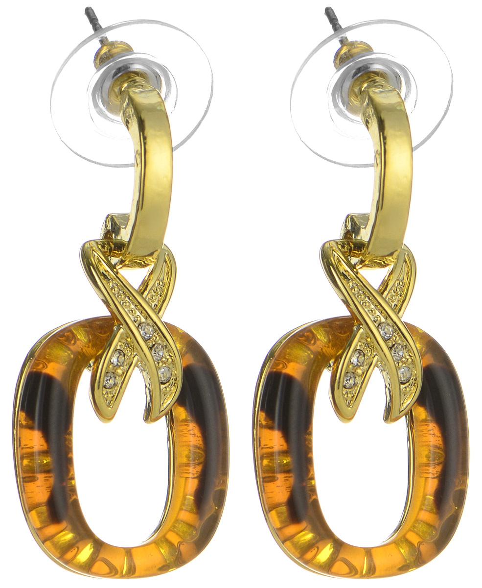 Серьги Art-Silver, цвет: золотой, коричневый. MS06197E-G-A-595Серьги с подвескамиЭлегантные серьги Art-Silver, выполненные из бижутерийного сплава и полимерного материала, с легкостью завершат ваш образ. Серьги дополнены оригинальными подвесками с цирконами и искусственными камнями, имитирующими янтарь.В качестве основы украшения использован замок-гвоздик с заглушками.Серьги современного дизайна придадут вашему образу изюминку, подчеркнут красоту и изящество вечернего платья или преобразят повседневный наряд.
