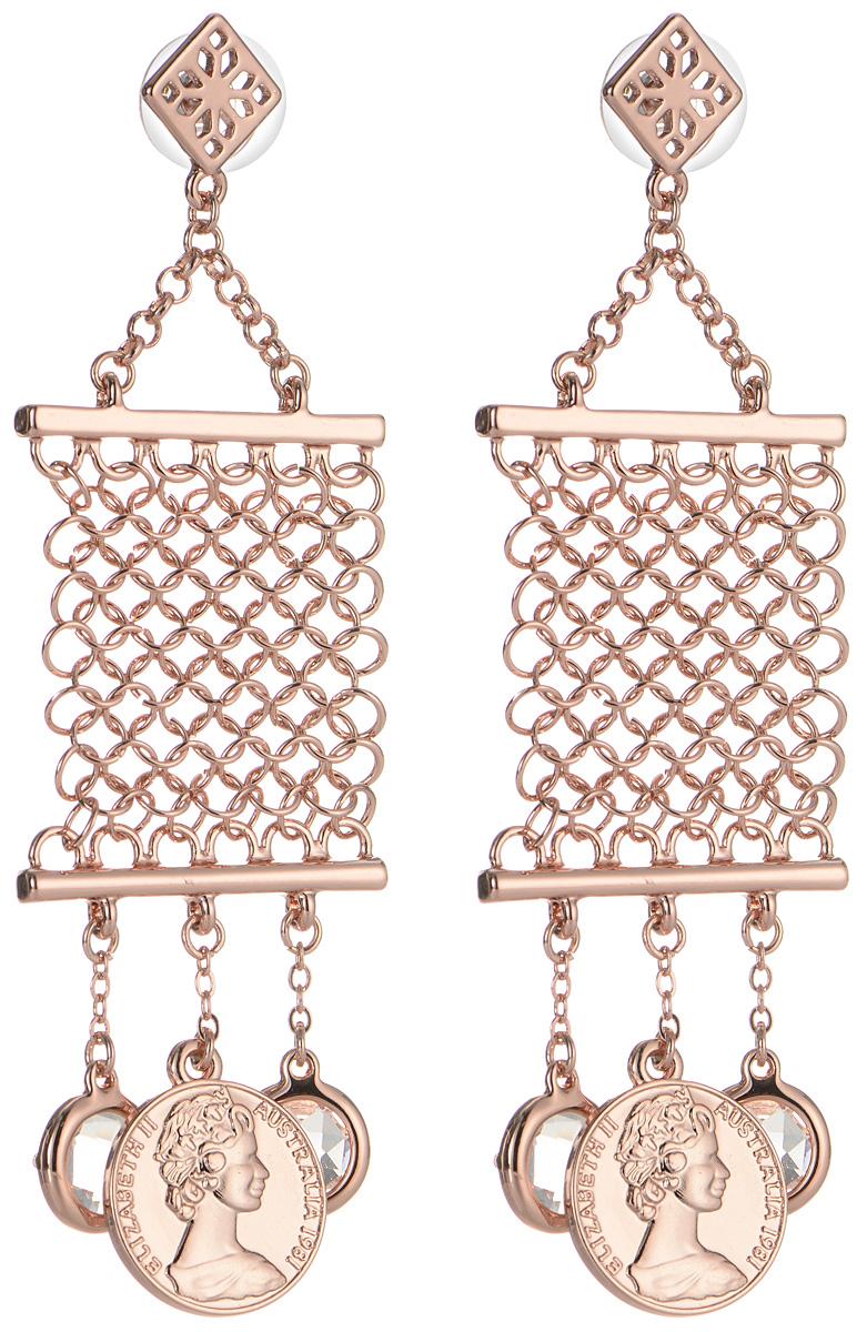 Серьги Art-Silver, цвет: золотой. MS05674E-RG-A-1580Серьги с подвескамиСерьги современного дизайна Art-Silver, выполненные из бижутерийного сплава с позолотой, с легкостью завершат ваш образ. Серьги дополнены массивными подвесками с имитацией кольчуги, старинных монет и элементами, которые дополнены гранеными кристаллами.В качестве основы украшения использован замок-гвоздик с заглушками.Серьги Art-Silver придадут вашему образу изюминку, подчеркнут красоту и изящество вечернего платья или преобразят повседневный наряд.