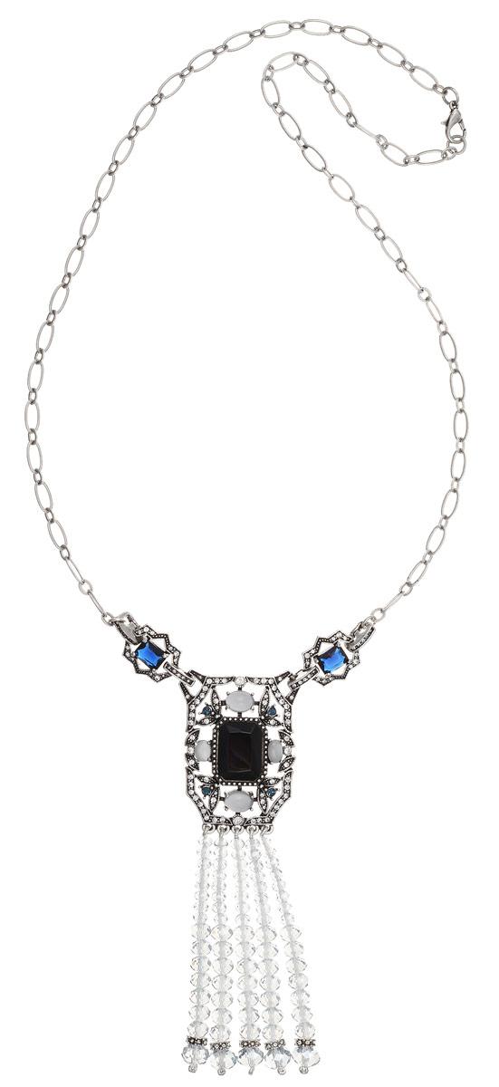 Колье Art-Silver, цвет: серебряный, синий. MS05362N-OS-A-2151Бусы-ошейникСтильное колье Art-Silver изготовлено из бижутерийного сплава. Колье представляет собой цепочку с крупными звеньями, которая дополнена массивной подвеской прямоугольной формы, низ которой выполнен из пять свисающих нитей с гранеными кристаллами разной формы. Колье дополнено элементами из пластика, разноцветными кристаллами и инкрустировано кубическим цирконием.Изделие застегивается на практичный замок-карабин.Колье Art-Silver поможет дополнить любой образ и привнести в него завершающий штрих.