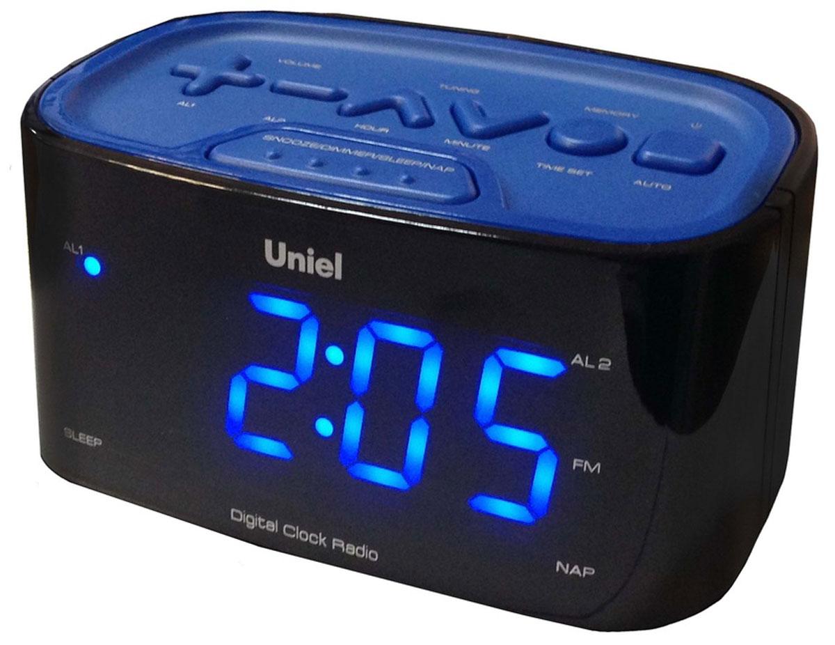 Uniel UTR-33BBK часы-будильникUTR-33BBKНастольные часы - будильник Uniel UTR-33BBK отлично подойдут ценителям минимализма: здесь нет ничего лишнего, только индикатор точного времени, будильник с возможностью отложить сигнал, радиоприемник и панель для настройки. Устройство работает от сети 220В, к которой подключается посредством адаптера.Компактные размерыБудильник с отложенным сигналомУдобная панель настройкиБольшие цифры