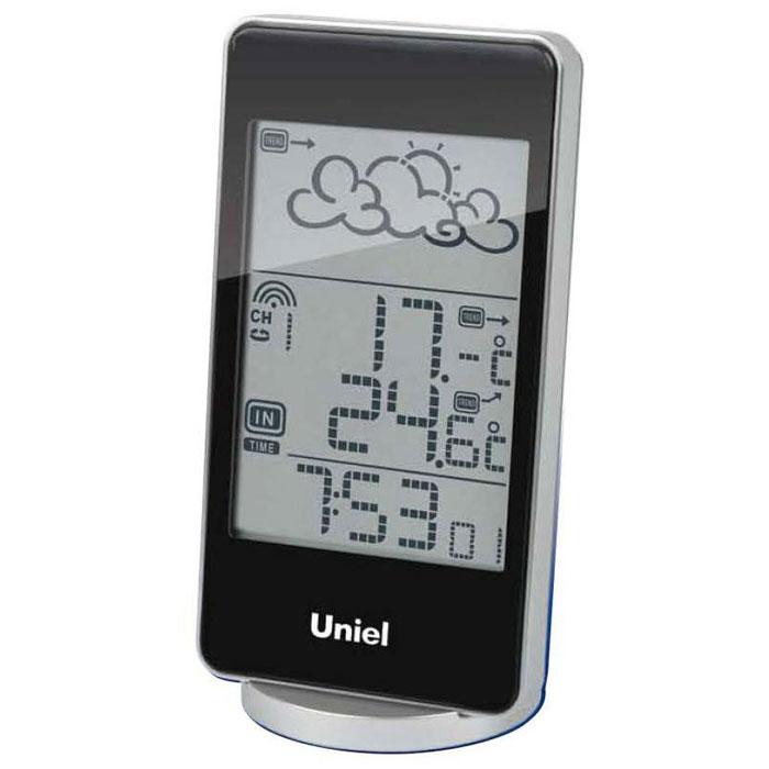 Uniel UTV-82K метеостанцияUTV-82KНастольная метеостанция Uniel UTV-82K в стильном компактном плоском корпусе – это еще одна разработка торговой марки Uniel. Жидкокристаллический дисплей устройства показывает прогноз погоды в виде анимации, также отображает температуру и на улице, и в комнате, местное время в формате 12/24. Помимо этого, гаджет оснащен будильником с тремя вариантами программирования.Компактные размерыМетеостанция с беспроводным датчикомАнимированный прогноз погодыЧасы с форматом времени 12/243 варианта программирования будильникаКалендарь