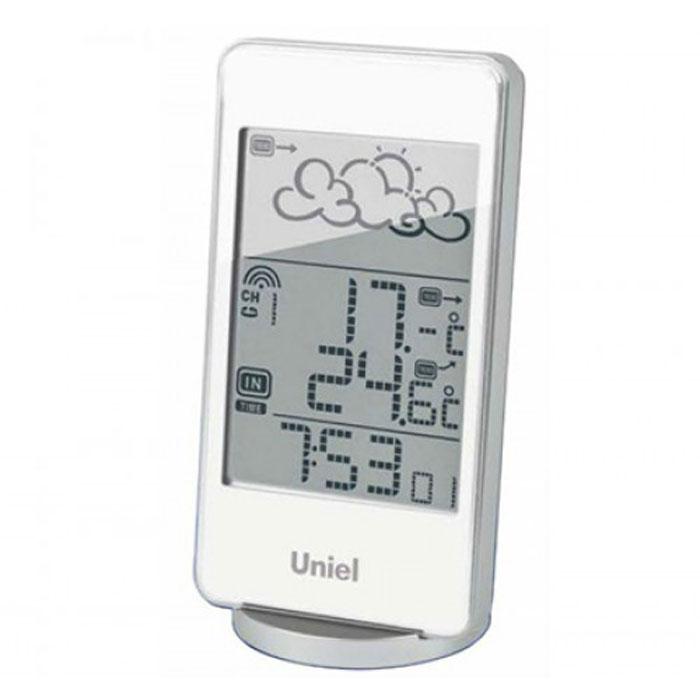 Uniel UTV-82W метеостанцияUTV-82WНастольная метеостанция Uniel UTV-82W в стильном компактном плоском корпусе - это еще одна разработка торговой марки Uniel. Жидкокристаллический дисплей устройства показывает прогноз погоды в виде анимации, также отображает температуру и на улице, и в комнате, местное время в формате 12/24. Помимо этого, гаджет оснащен будильником с тремя вариантами программирования.Компактные размерыМетеостанция с беспроводным датчикомАнимированный прогноз погодыЧасы с форматом времени 12/243 варианта программирования будильникаКалендарь