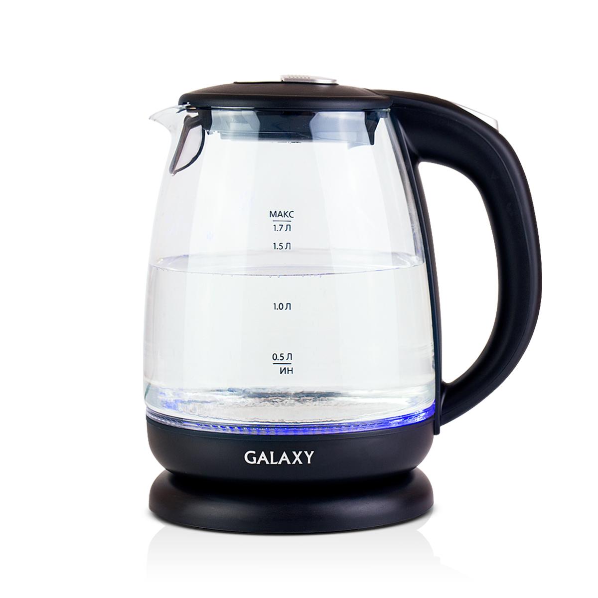 Galaxy GL 0550, Black чайник электрический4630003367662Электрический чайник Galaxy GL 0550 отвечает всем современным требованиям надежности и безопасности. При его производстве используются только высококачественные и экологически безопасные материалы, а также нагревательный элемент и контроллеры высокого класса надежности. Устройство будет служить вам долгие годы, наполняя ваш быт комфортом!Galaxy GL 0550 - это мощная (2200 Вт) модель объемом 1,7 л. С помощью этого чайника вы сможете приготовить чай на большую компанию за считанные минуты. Вращающийся корпус сделает использование чайника еще более удобным, а фильтр избавит от попадания накипи в чашку.