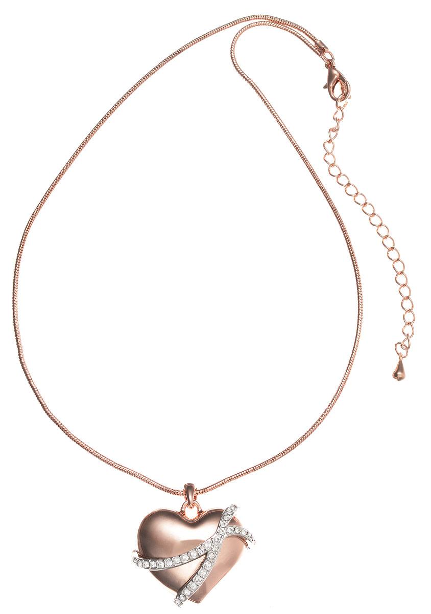Колье Art-Silver, цвет: золотой, серебряный. MS05235N-T-A-778Колье (короткие одноярусные бусы)Стильное колье Art-Silver выполнено из бижутерного сплава с покрытием под золото. Колье представляет собой цепочку оригинального плетения, которая дополнена подвеской в форме объемного сердца. Подвеска украшена элементами серебристого цвета и дополнена кубическим цирконием. Изделие застегивается на замок-карабин с регулирующей длину цепочкой.Стильное колье станет оригинальным аксессуаром, как для повседневного, так и для вечернего наряда, оно подчеркнет вашу индивидуальность и неповторимый стиль.