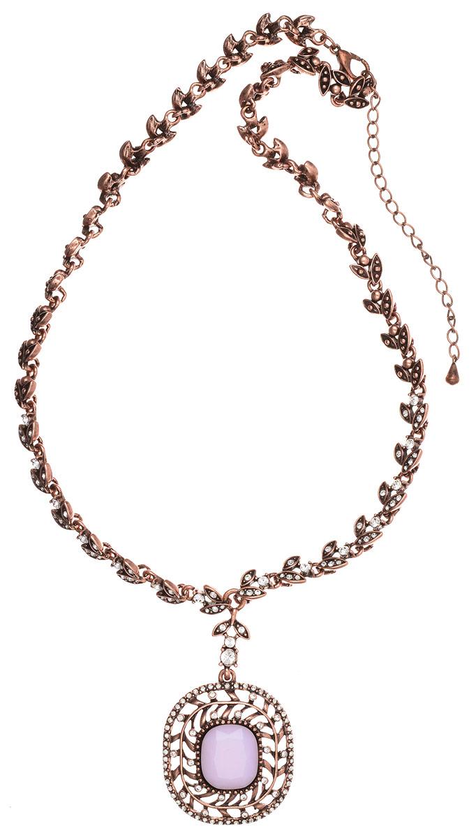 Колье Art-Silver, цвет: бронзовый, розовый. MS05359N-OC-A-1956Бусы-ниткаСтильное колье Art-Silver выполнено из бижутерного сплава с покрытием под бронзу. Колье представляет собой цепочку оригинального плетения в виде лепестков, которая украшена кубическим цирконием и дополнена массивной подвеской округлой формы. Подвеска инкрустирована кубическим цирконием и в центре дополнена вставкой из ювелирного пластика, имитирующего натуральный камень. Изделие застегивается на замок-карабин с регулирующей длину цепочкой.Стильное колье станет оригинальным аксессуаром, как для повседневного, так и для вечернего наряда, оно подчеркнет вашу индивидуальность и неповторимый стиль.