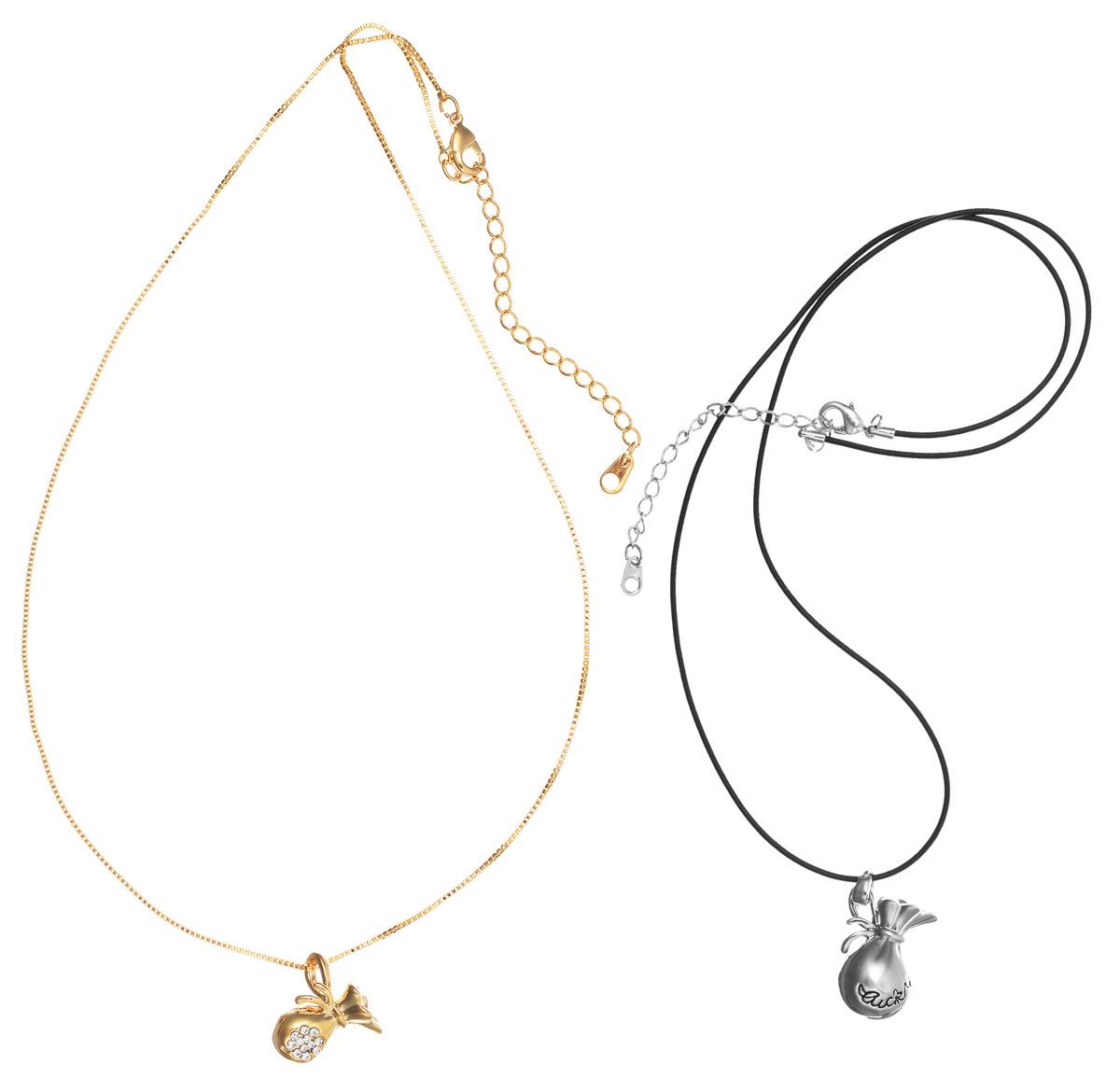 Колье Art-Silver, цвет: золотой, серебряный, черный. 13416-1000Ожерелье (короткие многоярусные бусы)Оригинальный комплект из двух колье Art-Silver выполнен из бижутерного сплава. Одно колье представляет собой цепочку оригинального плетения, которая дополнена подвеской в виде кувшинчика, украшенного кубическим цирконием. Цепочка и подвеска изделия имеют золотистое покрытие. Второе колье представляет собой основу из кожаного шнурка, который дополнен более крупной подвеской в виде кувшинчика серебристого цвета. Оба изделия застегиваются на замок-карабин с регулирующей длину цепочкой.Стильные колье станет оригинальным аксессуаром как для повседневного, так и для вечернего наряда, оно подчеркнет вашу индивидуальность и неповторимый стиль.
