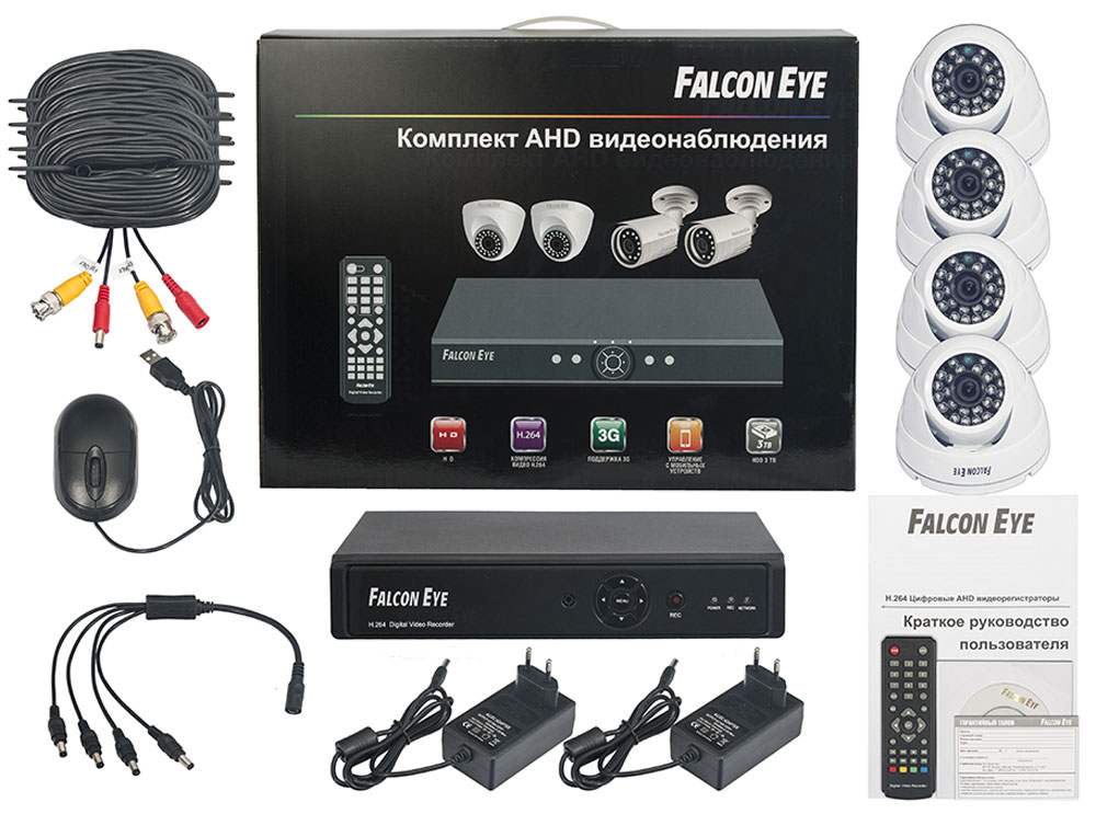 Falcon Eye FE-104AHD Kit Дом комплект видеонаблюденияFE-104AHD-KIT ДOMFalcon Eye FE-104AHD Kit Дом - современный комплект видеонаблюдения, представляющий собой набор высококачественного оборудования для самостоятельного построения системы видеонаблюдения. Развернуть и настроить систему сможет даже не обладающий специальными знаниями человек. Технические характеристики комплекта, надежность и функциональность удовлетворяют самым строгим критериям оценки систем безопасности для дома офиса и дачи.Камеры с разрешением 700 ТВЛ позволят записать сигнал с четкостью, достаточной для детального просмотра, а также для того, чтобы при необходимости использовать видеозапись, как доказательство противоправного действия. В видеорегистраторе воплощены все самые передовые технологии для систем видеонаблюдения: разрешение сигнала VGA/HDMI 1080p, возможность удаленного просмотра видео при помощи облачной технологии P2P на мобильных устройствах различных платформ.Резервное копирование: USB HDD, USB DVD-RWСкорость записи при 960H: 100 к/сПоддержка мобильных платформ Android\ iOS\ Blackberry\ Windows MobileПоддержка 3GПоддержка интернет браузеров Windows IE\Firefox\Chrome\SafariПрограмма удаленного доступа CMSОС: Linux