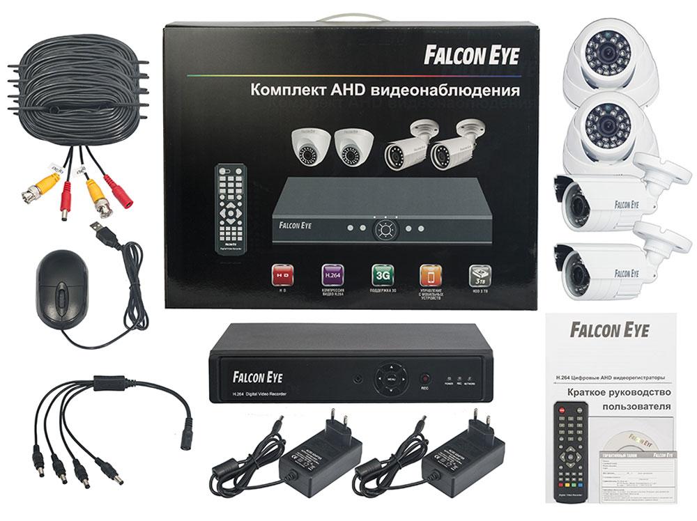 Falcon Eye FE-104AHD Kit Офис комплект видеонаблюденияFE-104AHD-KIT ОФИСFalcon Eye FE-104AHD Kit Офис - современный комплект видеонаблюдения, представляющий собой набор высококачественного оборудования для самостоятельного построения системы видеонаблюдения. Развернуть и настроить систему сможет даже не обладающий специальными знаниями человек. Технические характеристики комплекта, надежность и функциональность удовлетворяют самым строгим критериям оценки систем безопасности для дома офиса и дачи.Камеры двух типов с разрешением 700 ТВЛ и 1 Мпикс (сенсор Aptina AR0141) позволют записать сигнал с четкостью, достаточной для детального просмотра, а также для того, чтобы при необходимости использовать видеозапись, как доказательство противоправного действия. В видеорегистраторе воплощены все самые передовые технологии для систем видеонаблюдения: разрешение сигнала VGA/HDMI 1080p, возможность удаленного просмотра видео при помощи облачной технологии P2P на мобильных устройствах различных платформ.Резервное копирование: USB HDD, USB DVD-RWСкорость записи при 960H: 100 к/сСкорость записи при 720p: 100 к/сПоддержка мобильных платформ Android\ iOS\ Blackberry\ Windows MobileПоддержка 3GПоддержка интернет браузеров Windows IE\Firefox\Chrome\SafariПрограмма удаленного доступа CMSОС: LinuxКорпусная камера видеонаблюдения:Скорость затвора: 1/50 - 1/100000 сСенсор: CMOS 1/4Разрешение: 1 МпиксКупольная камера видеонаблюденияСенсор: CMOS 1/3Разрешение: 700 ТВЛУважаемые клиенты! Обращаем ваше внимание на то, что жесткий диск в комплект не входит.