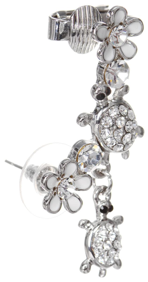 Серьга-кафф Art-Silver, цвет: серебряный. КФ22-1-391КаффыОригинальная серьга-кафф Art-Silver выполнена из бижутерного сплава. Украшение выполнено в виде оригинальной композиции,украшено кубическим цирконием и покрыто эмалью. В качестве основы украшения использован замок-гвоздик с фиксатором из пластика и металла, а также дополнительный фиксатор для уха в виде клипсы. Украшение выполнено в форме изгиба женского ушка (надевается на левое ухо).Стильная серьга-кафф придаст вашему образу изюминку и подчеркнет индивидуальность вашего стиля.
