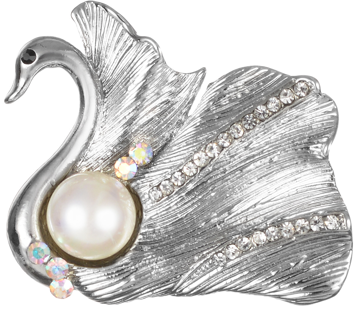 Брошь Fashion House, цвет: серебряный, белый. FH26354Брошь-булавкаЭффектная брошь Fashion House, выполнена в виде лебедя из бижутерного сплава и оформлена жемчужиной и стразами. Брошь крепится с помощью булавки с замочком. Такая брошь позволит вам с легкостью воплотить самую смелую фантазию и создать собственный, неповторимый образ.