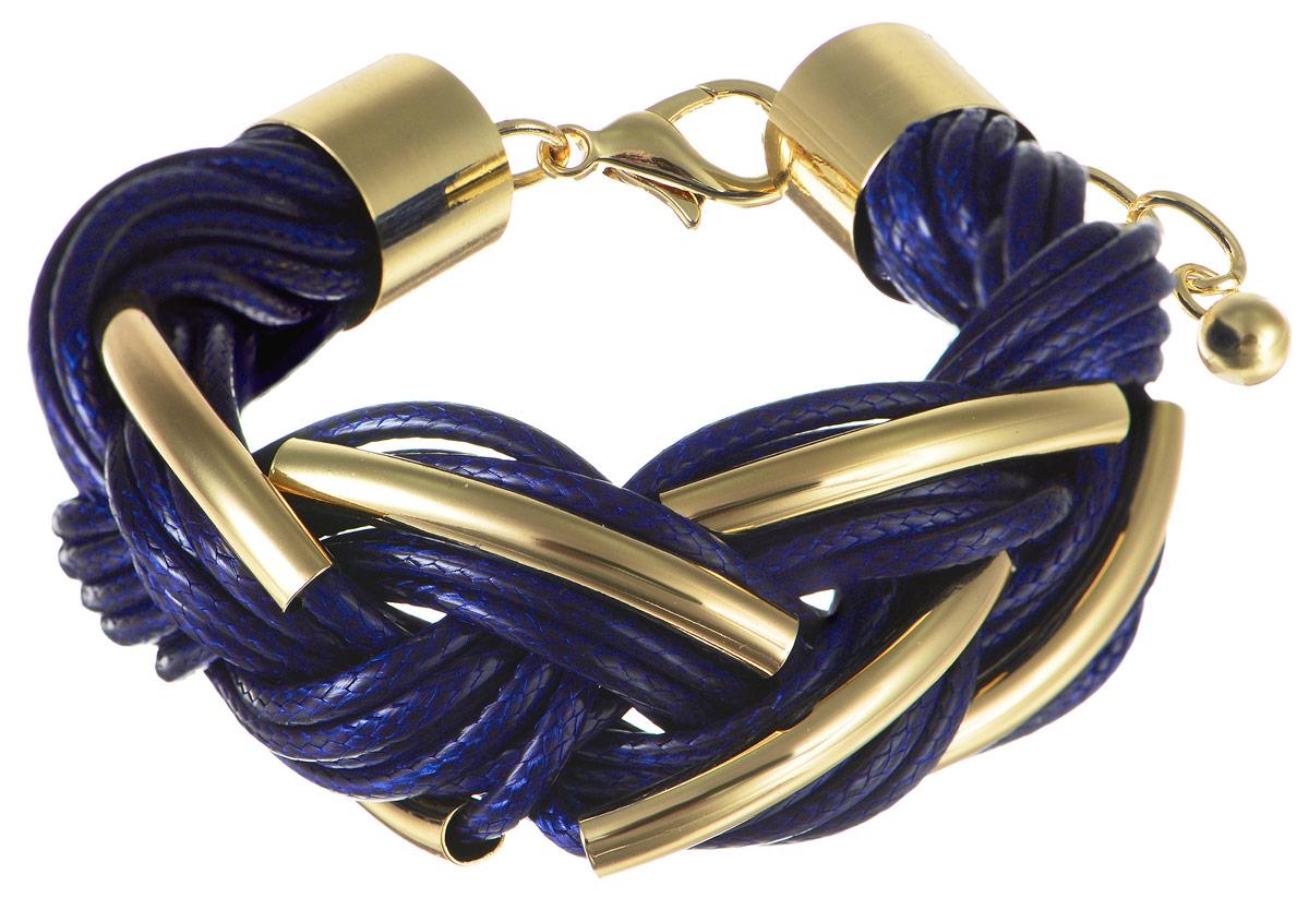 Браслет Art-Silver, цвет: золотистый, синий. 141114-18Blue-473Браслет для шармовШикарный женский браслет Art-Silver из высококачественного бижутерного сплава и текстиля выполнен в виде переплетенной косички. Браслет на застежке карабине, что позволяет идеально зафиксировать модель на руке.Это стильное украшение элегантно завершит модный образ и подчеркнет ваш утонченный вкус.