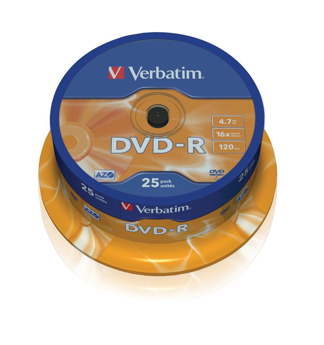 Verbatim DVD-R 4.7Gb 16x лазерный диск, 25 шт (Cake)43522В дисках Verbatim DVD-R 4.7Gb 16x используется технология MKM/Verbatim, обеспечивающая непревзойденное качество записи. Тесное сотрудничество отдела исследований и разработок компании Mitsubishi Chemical с производителями дисководов обеспечивает широкую совместимость дисков Verbatim, что делает их идеальными носителями для передачи компьютерных данных, домашних видеофильмов, фотографий и музыки.Тип упаковки: 25 Pack SpindleПоверхность: Matt Silver
