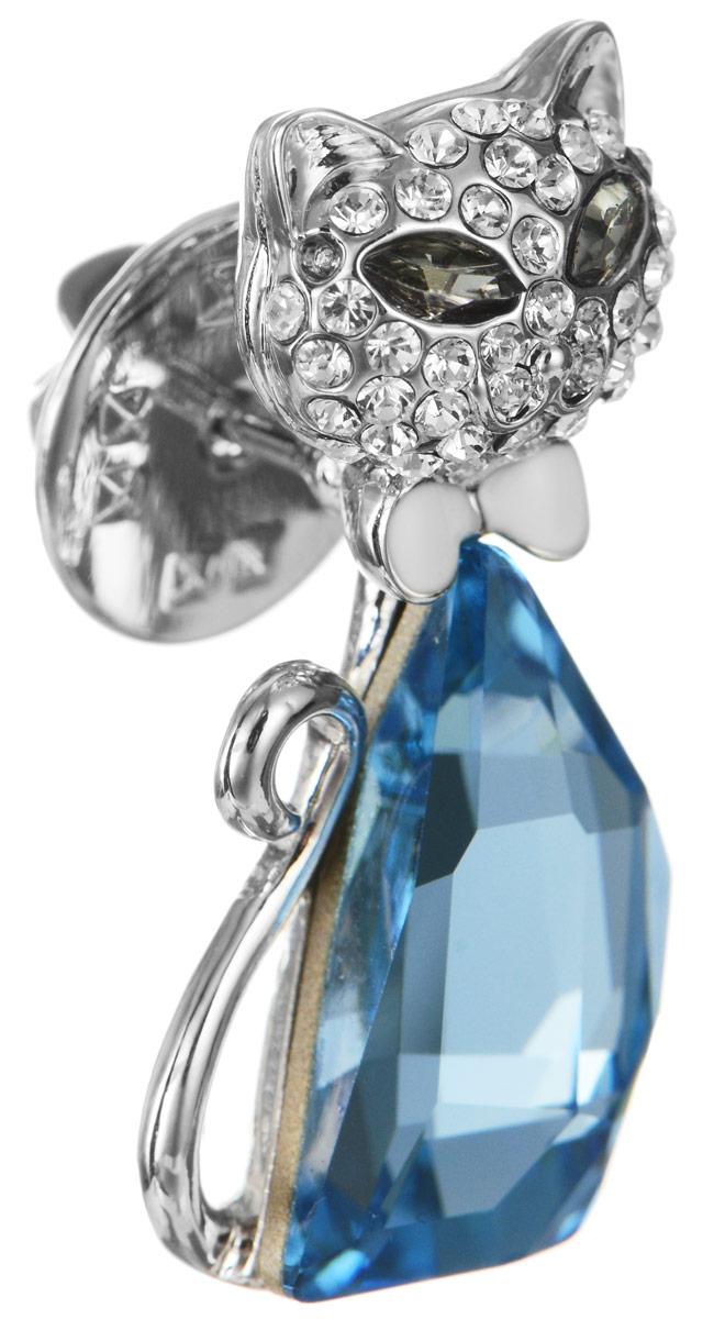 Брошь Art-Silver, цвет: серебристый, голубой. 059487-1583Брошь-иглаЭффектная брошь Art-Silver, выполнена в виде кошки из бижутерного сплава и оформлена камнями и стразами. Брошь крепится с помощью иголки с замочком. Такая брошь позволит вам с легкостью воплотить самую смелую фантазию и создать собственный, неповторимый образ.