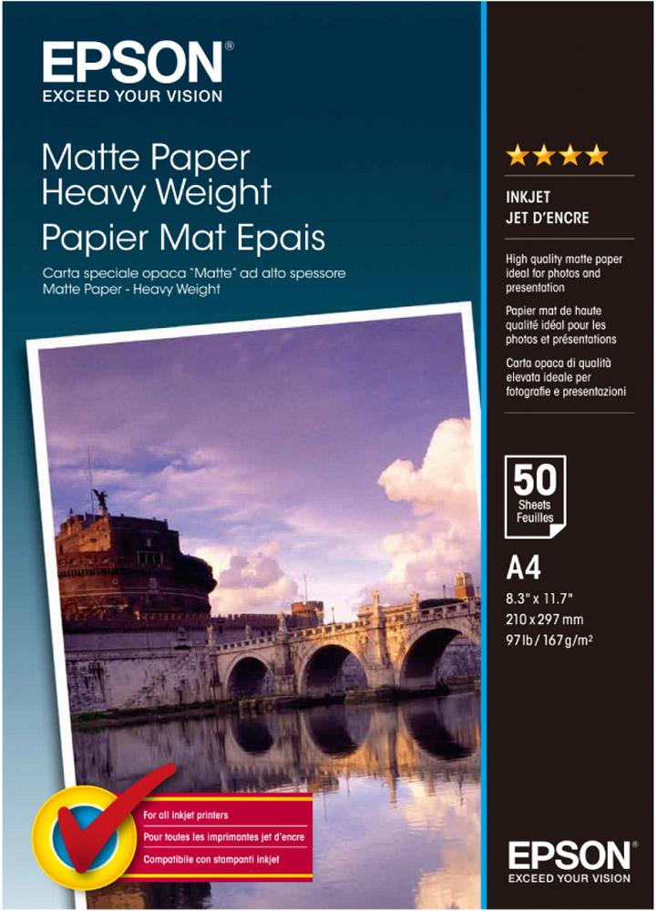 Epson Matte Heavyweight Paper (C13S041256) фотобумага, 50 листовC13S041256Плотная матовая бумага Epson Matte Heavyweight Paper для печати фотоизображений, календарей, сертификатов, постеров, плакатов, оформительских работ. Сделанные на данной бумаге отпечатки обладают повышенной светостойкостью.Толщина (мм): 0.23 Прозрачность: 94% Яркость: 97%