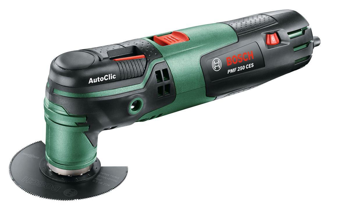 Многофункциональный инструмент Bosch PMF 250 CES0603102120Многофункциональный инструмент PMF 250 CES — это эффективный универсальный инструмент. С ним пиление, резка, шлифование и шабрение возможны даже в труднодоступных местах. Благодаря множеству принадлежностей этот виброинструмент выгодно отличается высокой гибкостью в использовании и оптимально подходит для деликатных работ. Система Bosch-SDS обеспечивает быструю и простую замену принадлежностей без ключа. Двигатель 250 Вт с электронной системой стабилизации и плавной регулировкой частоты колебаний гарантирует неизменно высокую производительность и работу с учетом свойств обрабатываемого материала. Дополнительная рукоятка поможет домашнему мастеру выполнить работу с высокой точностью наряду с оптимальным контролем.Характеристики изделия:Универсальный помощник благодаря широкому ассортименту инновационных принадлежностей Bosch StarlockЛегкая замена принадлежностей без инструмента в течение всего трех секунд благодаря инновационной системе AutoClicШлифование без пыли гарантируется подсоединяемой к универсальному пылесосу системе пылеудаленияВысокоточное и плавное врезание благодаря скругленным режущим кромкам погружных пильных полотен с Curved-TecСоблюдение точной глубины реза посредством 4-ступенчатого ограничителя глубиныНеизменно высокая производительность даже под нагрузкой благодаря электронной системе стабилизации BoschОптимальное ведение благодаря установке дополнительной рукоятке (приобретается отдельно)Высокая производительность благодаря мощному двигателю 250ВтРабота с учетом свойств обрабатываемого материала и области применения благодаря плавной регулировке частоты колебаний