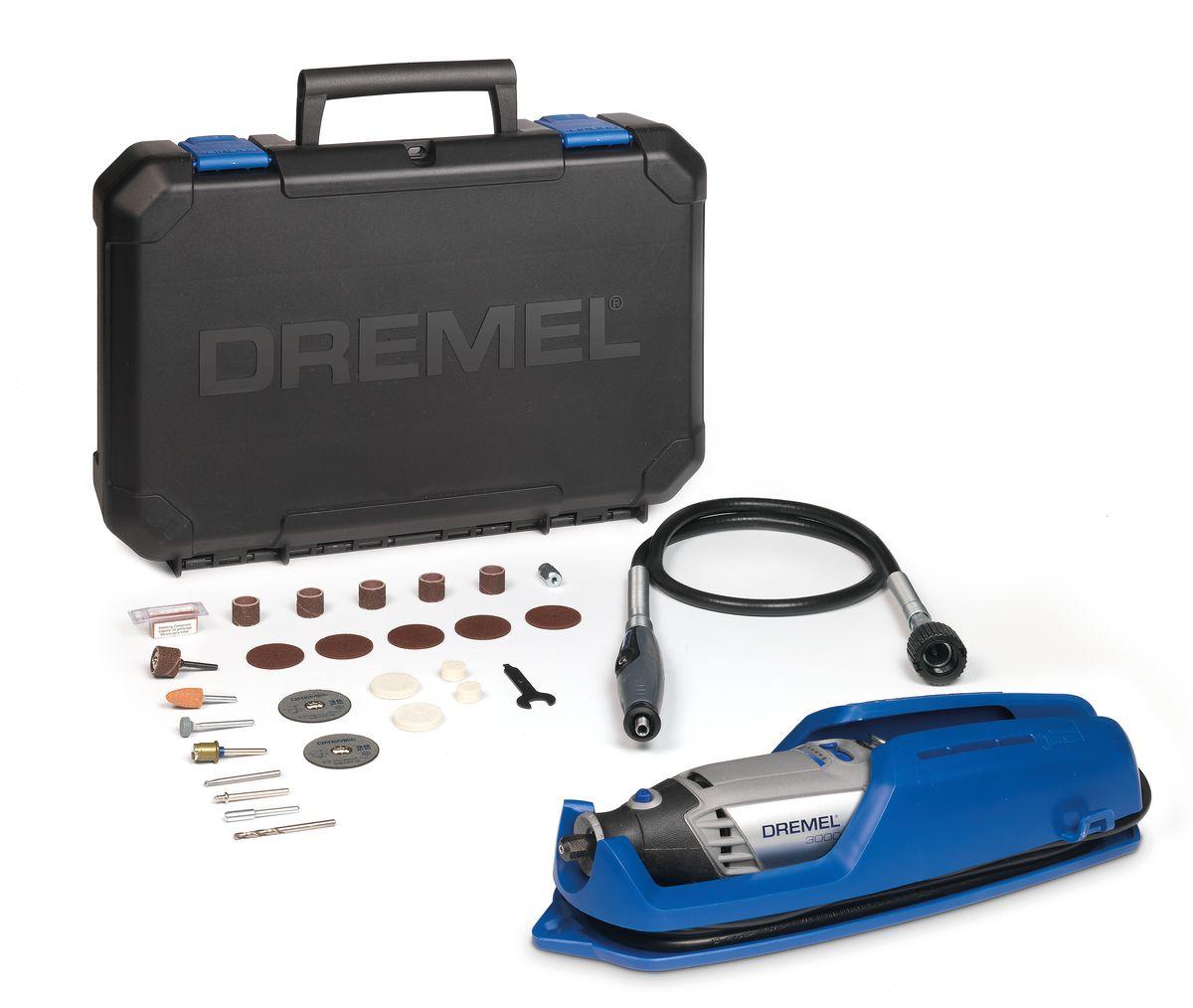 Многофункциональный инструмент Dremel 3000 - 1/25F0133000JTDremel 3000 – идеальный многофункциональный инструмент с новым инновационным наконечником EZ Twist. Благодаря этой новой функции для затягивания и ослабления цанги при смене насадок больше не нужен ключ – механизм ключа встроен в наконечник инструмента. Благодаря легкому корпусу инструмент удобен и прост в использовании. Вы почувствуете все преимущества многофункциональных насадок Dremel, выполняя различные точные работы, такие как резка металла, шлифование камня и дерева, сверление стекла и полирование различных материалов. Данный инструмент Dremel сочетает в себе отличное качество и привлекательную стоимость. Регулируемая скорость 10 000-33 000 об/мин: гарантирует комфортную работу и лучший контроль при ведении инструмента.Цанговый зажим: для легкой смены насадок.Инновационный наконечник EZ Twist: для смены насадок не требуется ключ.Встроенная петля: подвесьте инструмент на держатель недалеко от вашего рабочего места.Сменные щетки.Двигатель мощностью 130 Вт: оптимальная производительность.Рукоятка с мягкой накладкой: минимум вибраций и удобство в работе.Комплектация:Dremel 300025 высококачественных насадок Dremel (включая насадки EZ SpeedClic)Гибкий вал (225)Инструкция по эксплуатацииВместительный и прочный кейс для хранения, со съемным лотком для насадокВ комплект входит уникальная подставка для крепления инструмента, упрощающая хранение вашего инструментаТехнические характеристики:Входная номинальная мощность: 130 ВтНапряжение: 230 ВВес: 0,55 кгДлина: 19 смЧастота вращения на холостом ходу: 10.000 33.000 об/минРегулировка скорости: ПеременнаяСистема быстрой замены насадок: Да: EZ Twist