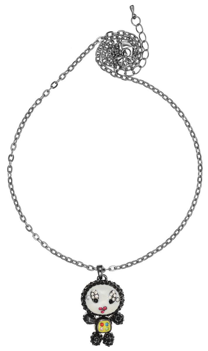 Колье Fashion House, цвет: серебряный, черный, белый. FH25962Ожерелье (короткие многоярусные бусы)Стильное колье Fashion House не оставит равнодушной ни одну любительницу модных и необычных украшений. Колье представляет собой тонкую цепочку с оригинальным плетением, дополненную изящной подвеской в виде человечка. Подвеска выполнена из металла, имеет подвижные элементы, покрыта разноцветной эмалью и украшена стразами. Колье имеет надежную застежку-карабин с регулирующей длину цепочкой.Такое украшение позволит вам с легкостью воплотить самую смелую фантазию и создать собственный, неповторимый образ.