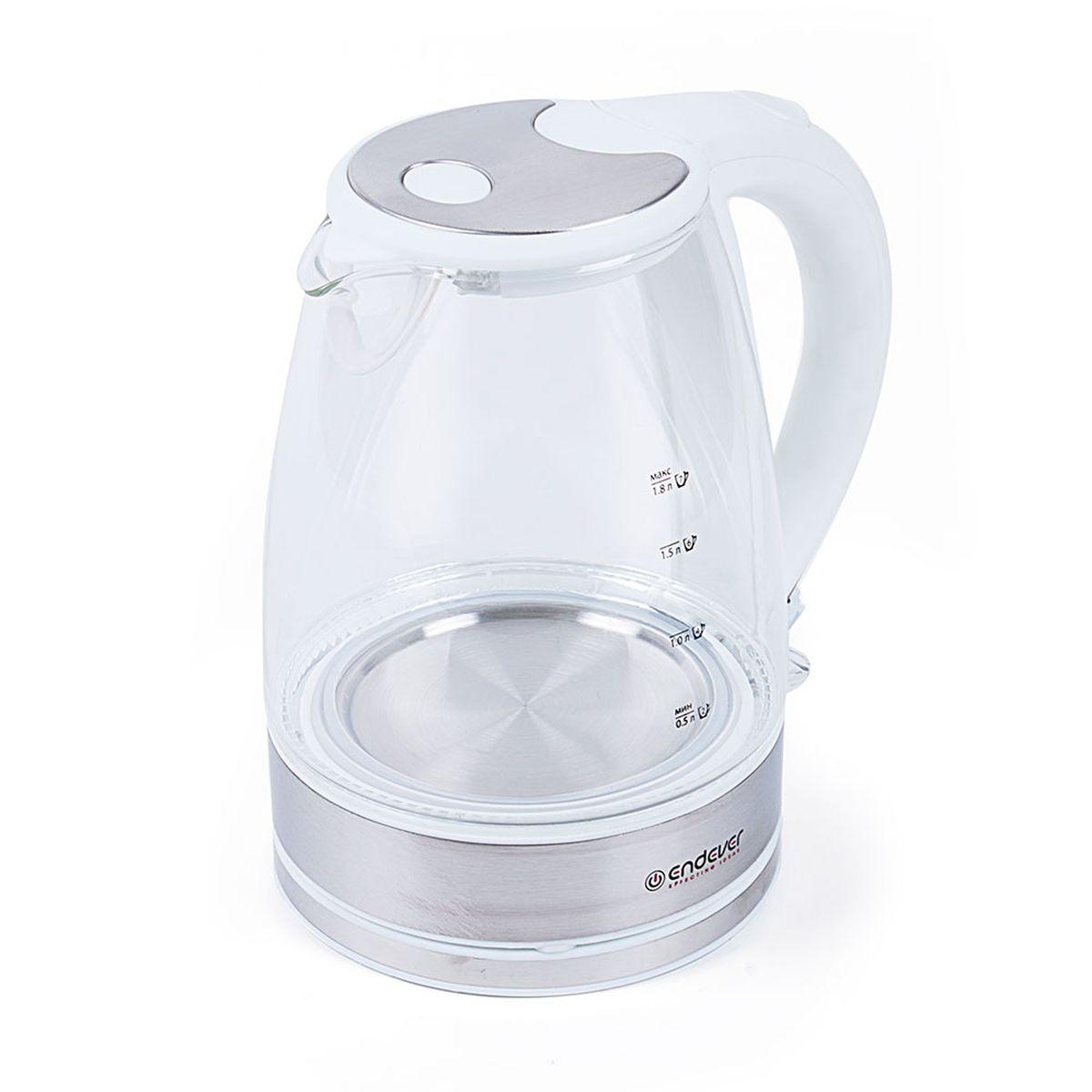 Endever KR-319G Skyline электрический чайникKR-319GКорпус чайника Endever KR-319G Skyline выполнен из высококачественного термостойкого стекла, сохраняющего природные свойства воды.Благодаря максимальной мощности 2400 Вт, данная модель за считанные минуты вскипятит 1,8 литра воды. Прозрачный корпус со шкалой контроля уровня и внутренней подсветкой позволяет следить за тем, как нагревается вода. Чайник соединён с базой центральным контактом и легко вращается на 360°.Крышка чайника открывается легким нажатием. Фильтр легко снимается, его можно мыть вручную или в посудомоечной машине. Нагревательный элемент встроен в дно и надежно защищен, что делает его чистку максимально удобной. Среди характеристик безопасности использования чайника стоит отметить автоматический и ручной выключатели, а также защиту от перегрева.