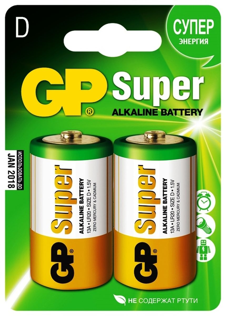 Батарейка алкалиновая GP Batteries Super Alkaline, тип D, 2 шт2655Комплект GP Batteries Super Alkaline, состоящий из двух алкалиновых батареек типа D, имеет широкий спектр применения. Батарейки прекрасно подходят для устройств повседневного использования. Комплект: 2 шт.