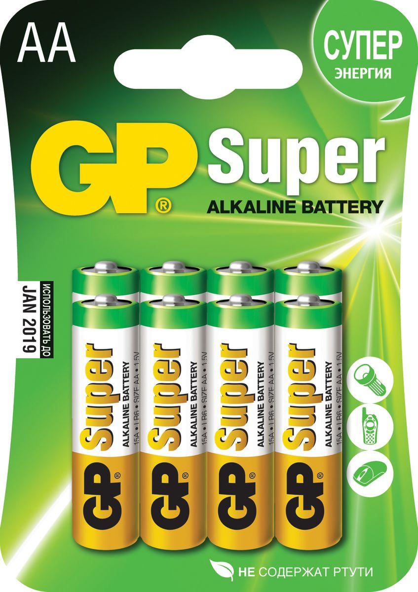 Батарейка алкалиновая GP Batteries Super Alkaline, тип АА, 8 шт2720Комплект GP Batteries Super Alkaline, состоящий из восьми алкалиновых батареек типа АА, имеет широкий спектр применения. Батарейки прекрасно подходят для устройств повседневного использования. Комплект: 8 шт.