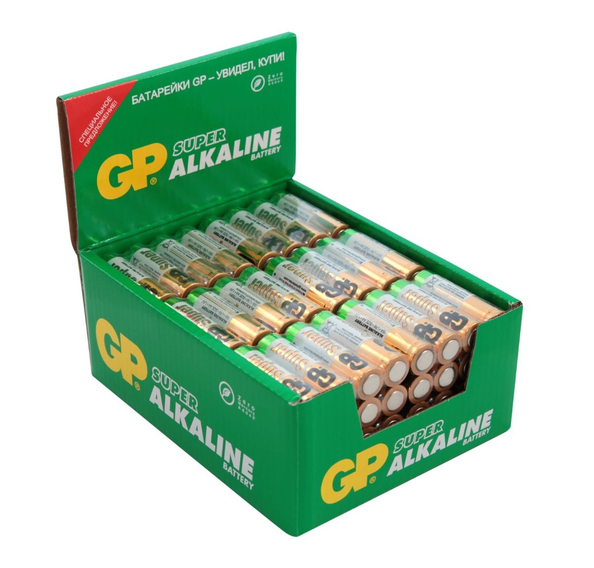 Батарейка алкалиновая GP Batteries Super Alkaline, тип АА, 96 шт2727Комплект GP Batteries Super Alkaline, состоящий из 96 алкалиновых батареек типа АА, имеет широкий спектр применения. Батарейки прекрасно подходят для устройств повседневного использования. Комплект: 96 шт.