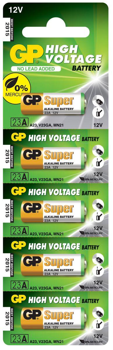 Батарейка высоковольтная GP Batteries, тип 23А, 5 шт2889Высоковольтная батарейка GP Batteries типа 23А включают в себя целый ряд элементов питания марганцево-цинковой системы с щелочным электролитом. Все батареи этой системы представляют собой набор элементов дисковой конструкции, собранных в единый металлический корпус. Такие батареи отличаются высоким разрядным напряжением от 6 до 15 В. Улучшенные характеристики батарей позволяют эффективно использовать их в современных цифровых охранных комплексах. Также используются в пультах дистанционного управления, детских игрушках, цифровых органайзерах.Комплект: 5 шт.