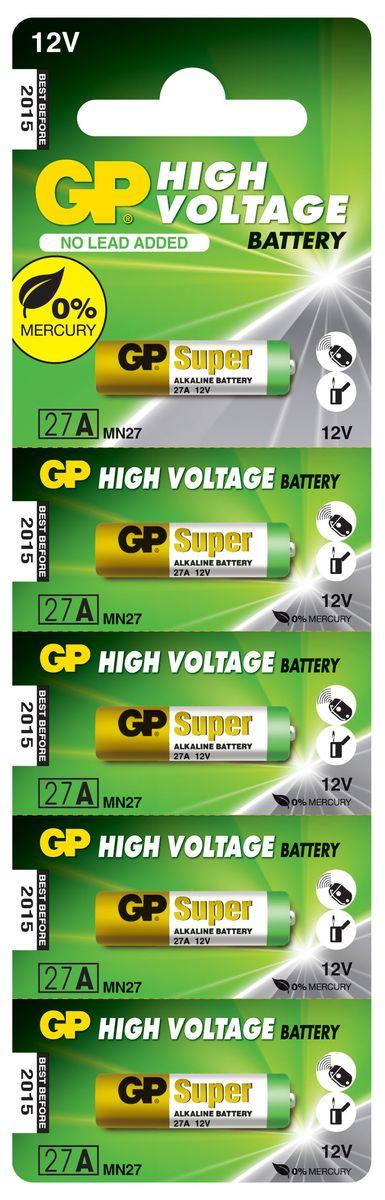 Батарейка высоковольтная GP Batteries, тип 27А, 5 шт2982Высоковольтная батарейка GP Batteries типа 27А включают в себя целый ряд элементов питания марганцево-цинковой системы с щелочным электролитом. Все батареи этой системы представляют собой набор элементов дисковой конструкции, собранных в единый металлический корпус. Такие батареи отличаются высоким разрядным напряжением от 6 до 15 В. Улучшенные характеристики батарей позволяют эффективно использовать их в современных цифровых охранных комплексах. Также используются в пультах дистанционного управления, детских игрушках, цифровых органайзерах.Комплект: 5 шт.