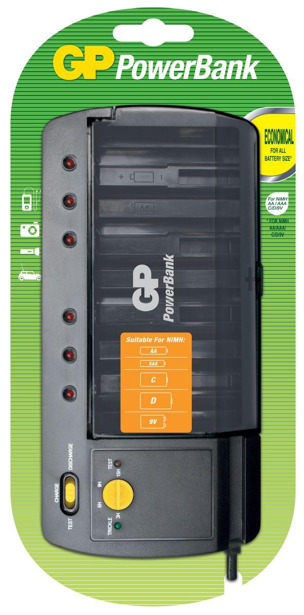 Универсальное зарядное устройство GP Batteries для аккумуляторов типа АА, ААА, С, D, Крона (9V)3505Экономия средств, безопасный заряд и удобство обращения. Серия STANDARD зарядных устройств GP PowerBank предлагает экономное решение для заряда аккумуляторов всех типоразмеров. Если вам нужно зарядить аккумуляторы типоразмеров ААА, АА, все зарядные устройства PowerBanks просты и удобны в использовании; просто поместите Ваши аккумуляторы в устройство и оставьте их заряжаться на всю ночь. Автоматический таймер гарантирует безопасный процесс заряда, после которого Вы можете вытащить заряженные аккумуляторы, когда они Вам понадобятся. * Устройство, разработанное для того, чтобы оно всегда находилось в розетке - для мгновенной энергии* Компактное устройство* Два канала для заряда позволяют заряжать 1-2 никель-металлгидридных аккумулятора типоразмеров АА или ААА