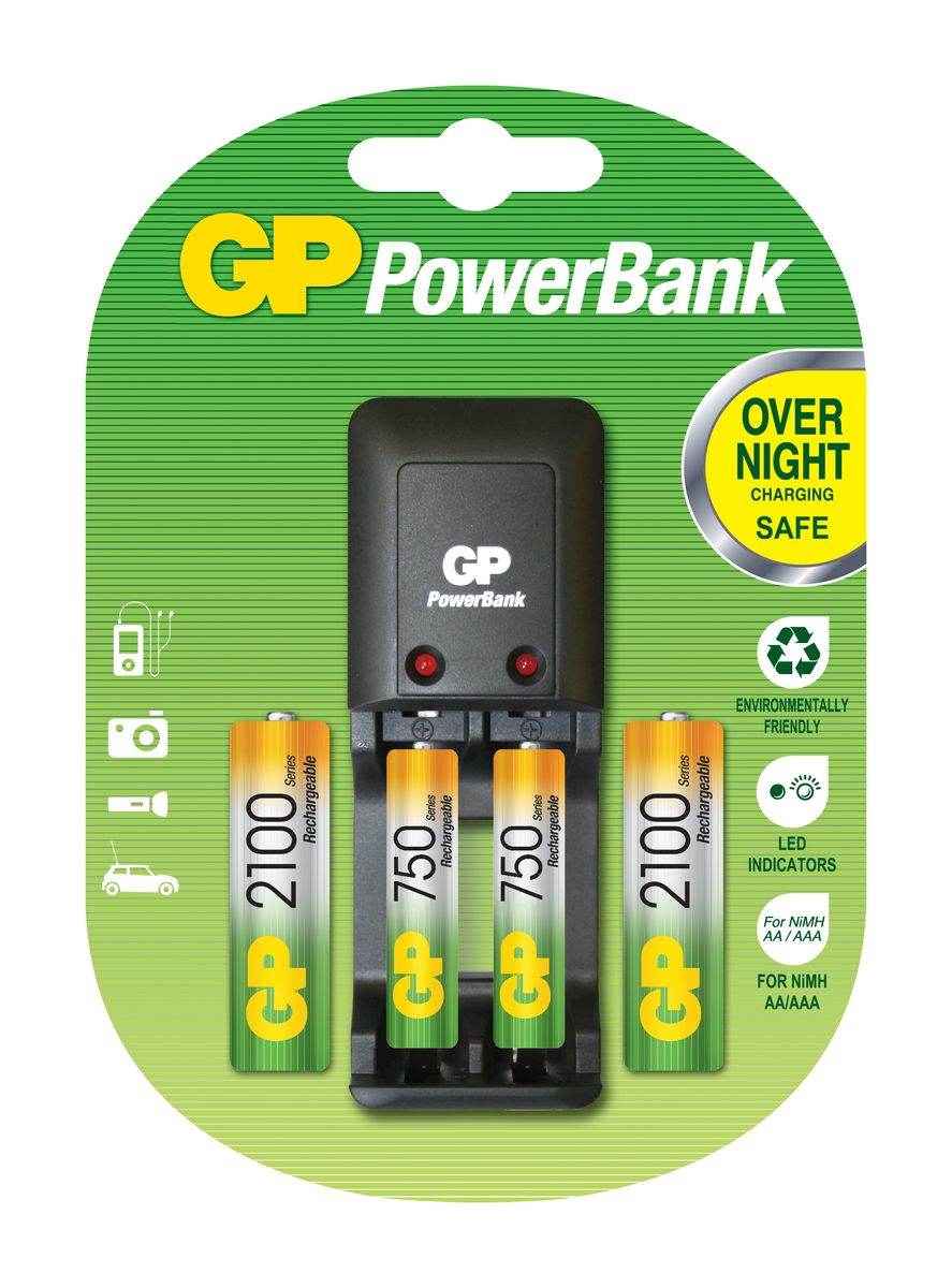 Зарядное устройство для аккумуляторов GP Batteries + 2 АА (2100 mAh) + 2 ААА (750 mAh)3511Простое в использовании зарядное устройство GP Batteries предназначено для зарядки никель-металлогидридных аккумуляторов. Два независимых канала позволяют заряжать 2 аккумулятора типа AA или AAA одновременно. Светодиодные индикаторы показывают уровень зарядки батарей. В устройстве предусмотрена автоматическая защита от перегрузки и перегрева. В комплект входят: 2 аккумулятора типа AA (2100 mAh) и 2 аккумулятора типа AAA (750 mAh).
