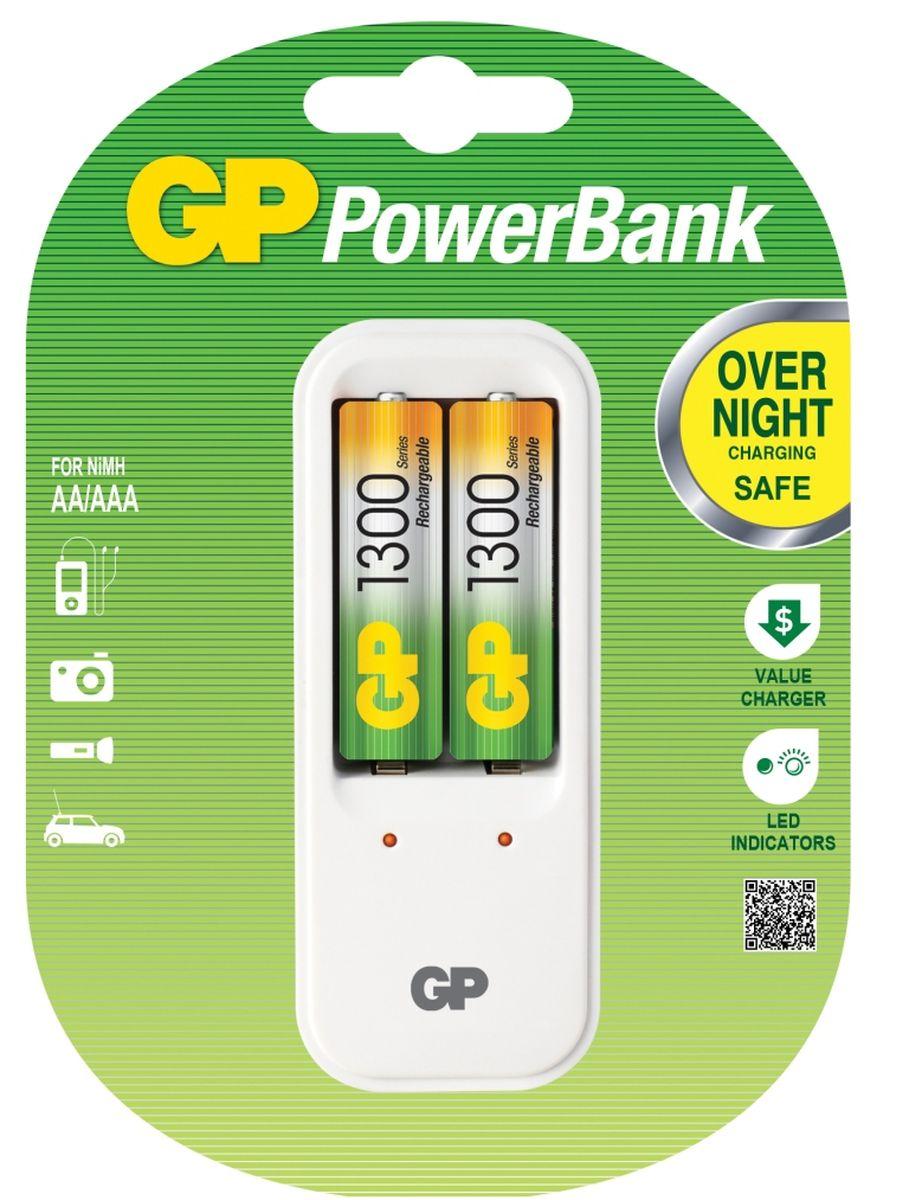 Зарядное устройство GP Batteries для заряда 2-х аккумуляторов типа АА, ААА + комплект из 2-х аккумуляторов NiMh, 1300 mAh, тип АА3546Экономия средств, безопасный заряд и удобство обращения. Серия STANDARD зарядных устройств GP PowerBank предлагает экономное решение для заряда аккумуляторов всех типоразмеров. Если вам нужно зарядить аккумуляторы типоразмеров ААА, АА, все зарядные устройства PowerBanks просты и удобны в использовании; просто поместите Ваши аккумуляторы в устройство и оставьте их заряжаться на всю ночь. Автоматический таймер гарантирует безопасный процесс заряда, после которого Вы можете вытащить заряженные аккумуляторы, когда они Вам понадобятся. * Устройство, разработанное для того, чтобы оно всегда находилось в розетке - для мгновенной энергии* Компактное устройство* Два канала для заряда позволяют заряжать 1-2 никель-металлгидридных аккумулятора типоразмеров АА или ААА