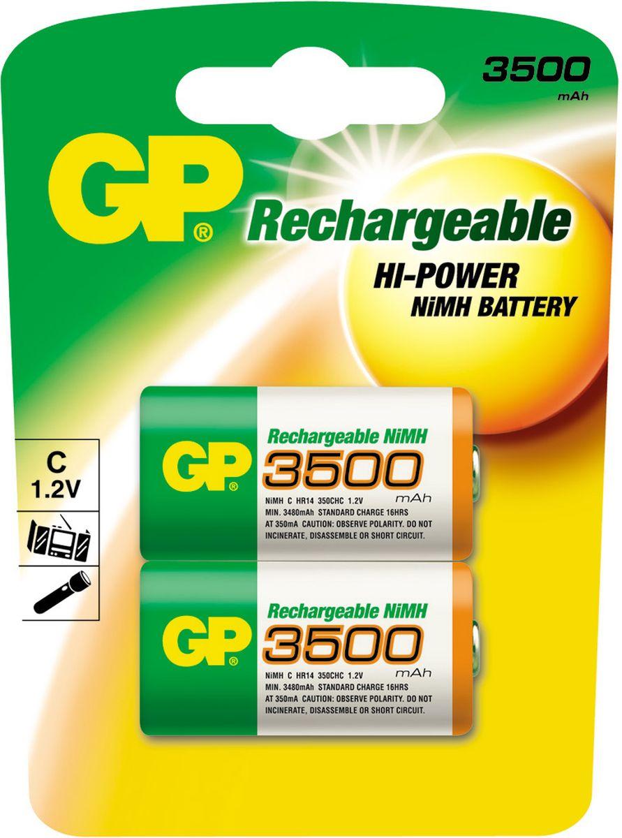 Аккумулятор GP Batteries, тип С, 3500 mAh, 2 шт8236Перезаряжаемый аккумулятор GP Batteries используются повсюду и применимы в широком спектре устройств. Он сохраняет энергию длительное время и может быть перезаряжен до 500 раз. Батарейка обладает энергоемкостью выше, чем у алкалиновых элементов питания. Защищена от коротких замыканий. Изделие производится по новой, более совершенной технологии LSD, которая гарантирует аккумулятору низкий саморазряд - позволяет сохранять минимум 30% заряда в течение 2 лет хранения.