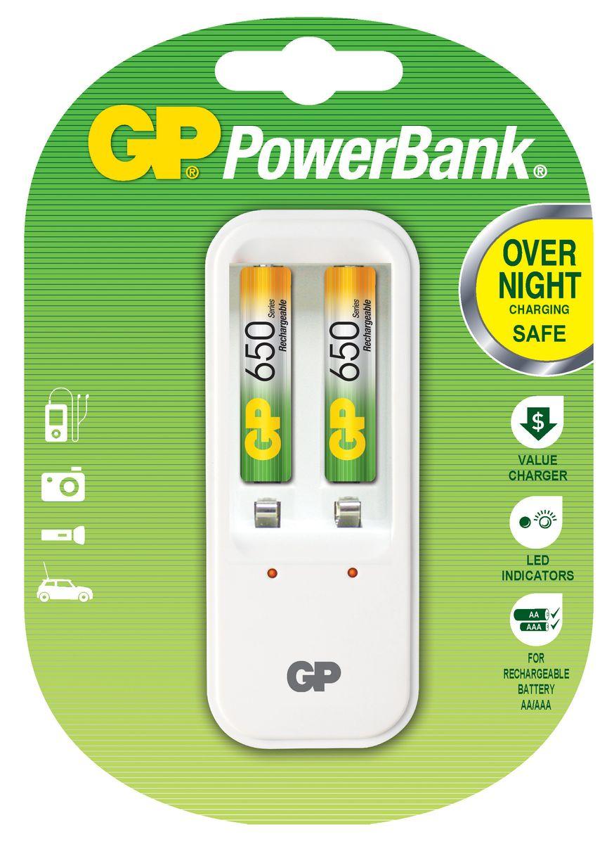 Зарядное для аккумуляторов GP Batteries + 2 ААА (650 mAh)8511Простое в использовании зарядное устройство GP Batteries предназначено для зарядки никель-металлогидридных аккумуляторов. Заряжает аккумуляторы АА и ААА любой мощности. Два независимых канала позволяют заряжать 2 или 4 аккумулятора типа AA или AAA одновременно. Светодиодные индикаторы показывают уровень зарядки батарей. В устройстве предусмотрена автоматическая защита от перегрузки и перегрева. В комплект входят: 2 аккумулятора типа AAA (650 mAh).