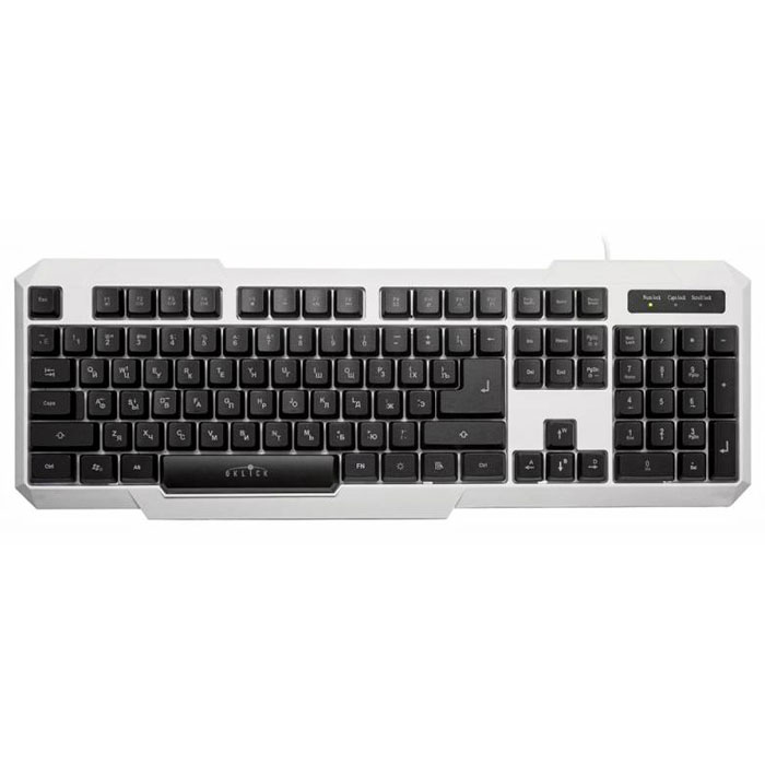 Oklick 740G, White клавиатура336021Oklick 740G - это 104-клавишная клавиатура с подсветкой в игровом дизайне, выполненная из прочного матового пластика черного или белого цвета. Клавиши полноразмерные со стандартным профилем, мягким ходом средней длины. Наличие мультимедийных клавиш позволяет настроить клавиатуру под себя для более удобной работы на ПК, а возможность блокировки кнопки Windows предотвращает ее случайное срабатывание в процессе игры. Отключаемая трехцветная подсветка (с регулировкой уровня интенсивности свечения и режимом пульсации со сменой цветов) позволяет с удобством проводить время за компьютером при отсутствии освещения.Ресурс: 10 000 000 нажатийМатериал корпуса ABS-пластикБлокировка кнопки Windows Пульсирующий режим подсветки со сменой цветов