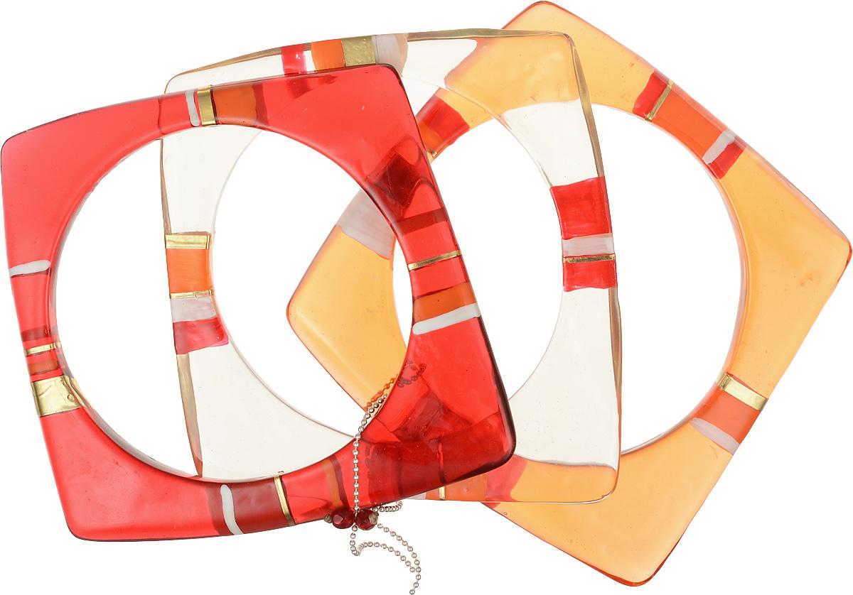 Браслет Lalo Treasures Round Trip, цвет: красный, оранжевый. B2446-4Браслет с подвескамиРоскошный женский браслет Lalo Treasures Round Trip выполнен из высококачественного металлического сплава и ювелирной смолы. Модель выполнена в оригинальном стиле тройного браслета. Это стильное украшение элегантно завершит модный образ и подчеркнет ваш утонченный вкус.