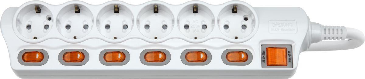 Сетевой фильтр Daesung, 6 гнезд, 5 м. MC2365MC2365Индивидуальный выключатель розетки (энергосбережение до 11%).Защита от импульсных скачков напряжения в сети и перенапряженияЗащита от перегреваЗащита от грозовых разядовЗащитные шторкиОтверстия для крепления на стену Корпус из поликарбоната (более ударопрочный, огнестойкий и экологичный материал)Антистатичная глянцевая поверхность (не маркий,не скапливается и легко удаляется пыль/грязь)Гибкий, мягкий кабель из чистой меди (тестируется на 10 000 изгибов)Направляющие канавки розеток (повышеный уровень комфортности при включении)контакты заземления из высококачественного сплава меди.5 лет гарантии(не ремонтируется), при поломке высылаете его Производителю (Представителю) и получаете взамен новый. Расходы по доставке производитель (Представитель) берёт на себя.При утере чека и гарантийного талона, датой отчета гарантийного срока является дата производства, которая указана на обратной стороне удлинителя/сетевого фильтра.