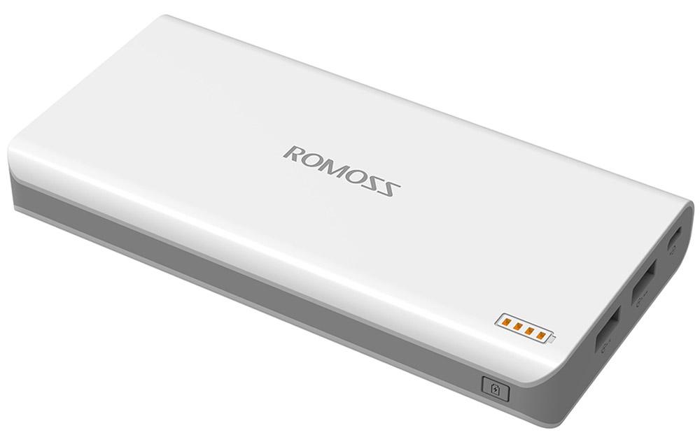 Romoss Solo 6, White внешний аккумулятор00000009013Внешний аккумулятор для планшетных компьютеров и смартфонов ROMOSS Solo 6 ёмкостью 16000 мАч предназначен для заряда аккумулятора мобильных устройств: мобильных телефонов, смартфонов, карманных компьютеров, мультимедиа плееров, и любых других мобильных устройств, имеющих функцию заряда USB-порт. ROMOSS Solo – это свобода общения в любое время и в любом месте!Фотографируйте и снимайте видео, выставляйте свои фото и видео материалы в социальных сетях, ищите информацию в интернете - с внешним аккумулятором ROMOSS Solo у вас нет никаких лимитов – энергии хватит с избытком!Стабильный, надежный и мощный источник энергии для планшетов, мобильных телефонов и других мобильных устройств. Позволяет зарядить iPhone 8 раз! Solo, разработанный на основе технологии FitCharge, полностью совместим с широким спектром планшетов, смартфонов, МР3- и МР4-плееров и других мобильных устройств. Великолепная электроника обеспечивает эффективность преобразования энергии на уровне до 85%. Она дает мобильным устройствам на 10% больше мощности, чем стандартный внешний аккумулятор такой же емкости.Потрясающая параллельная зарядка!Срочно требуется подзарядка? Внешний аккумулятор можно заряжать и одновременно заряжать им ваши устройства. Больше не нужно волноваться, что и внешний аккумулятор, и батарея на вашем устройстве разрядятся! Встроенный выход на 2,1 А позволит заряжать ваши устройства быстрее, чем это было возможно ранее. Внешний аккумулятор также снабжен защитной системой, поэтому вы можете не волноваться при быстрой зарядке.Технология FitCharge: позволяет автоматически определять входной ток различных устройств и другие требования при зарядке, обеспечивая улучшенную совместимость! Два выхода, высокая эффективность зарядки!При помощи двух выходов вы можете одновременно заряжать два устройства, наслаждаясь высокой портативностью и эффективностью зарядки.Световая индикация при включении.Четыре встроенных светодиодных индикатора загораются ор