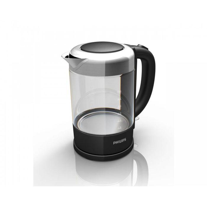 Philips Viva Collection HD 9340/90 электрочайникHD9340/90Первый чайник Philips из стекла и нержавеющей стали. Отличается повышенной прочностью и долговечностью. Индикация объема воды по чашкам позволяет вскипятить нужное количество воды, не расходуя излишне природные ресурсы. Фильтр от накипи обеспечивает чистоту воды и чайника. Катушка для удобного хранения шнураШнур оборачивается вокруг основания, что позволяет легко разместить чайник на кухне. Когда чайник включен, загорается подсветкаЭлегантная подсветка кнопки включения/выключения уведомляет о процессе нагрева воды. Индикатор воды по чашкам позволяет вскипятить столько воды, сколько нужноЕсли вы кипятите ровно столько воды, сколько нужно, вы экономите энергию и воду, внося свой вклад в защиту окружающей среды. Беспроводная подставка с поворотом на 360° для удобства использования. Стекло SCHOTT DURAN (производится в Германии) идеально подходит для кипяченияКорпус чайника выполнен из специального стекла марки SCHOTT DURAN, которое производится в Германии. Такой корпус отличается надежностью, долговечностью и выдерживает высокие температуры - например, он идеально подходит для кипячения воды. Плоский нагревательный элемент для быстрого кипячения воды и легкой чисткиВстроенный нагревательный элемент из нержавеющей стали обеспечивает быстрое кипячение и простую чистку. Откидная крышка с кнопкой для удобного наполнения и очистки чайникаОткидная крышка с кнопкой для удобного наполнения и очистки чайника исключает контакт с паром. Комплексная система безопасностиКомплексная система безопасности для предотвращения короткого замыкания и выкипания воды. Функция автовыключения активируется, когда процесс завершается или прибор снимается с основания.