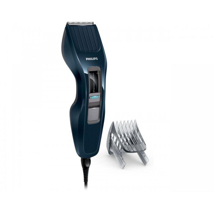 Philips HC3400/15, Dark Blue машинка для стрижкиHC3400/15Машинка для стрижки волос Philips HC3400/15.Двойной режущий блок с двойной заточкой и уменьшенным трением:Простое решение для стрижки волос любого типа: усовершенствованная технология DualCut - это режущий блок с двойной заточкой и низким коэффициентом трения. Инновационный режущий блок обеспечивает в два раза более быструю стрижку по сравнению с обычными машинками для стрижки Philips, что гарантирует превосходный результат снова и снова.Самозатачивающиеся лезвия из нержавеющей стали долго остаются острыми.13 установок длины от 0,5 до 23 мм, которые легко выбрать и зафиксировать:Выберите и зафиксируйте одну из 12 фиксируемых установок длины регулируемого гребня: от 1 мм до 23 мм с шагом 2 мм. Либо используйте прибор без гребня для минимальной длины 0,5 мм.