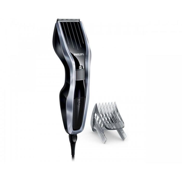 Philips HC5410/15, Silver Black машинка для стрижкиHC5410/15Машинка для стрижки волос Philips HC5410/15.Двойной режущий блок с двойной заточкой и уменьшенным трением:Усовершенствованная технология DualCut - это режущий блок с двойной заточкой и низким коэффициентом трения. Корпус из стали обеспечивает дополнительную надежность, а инновационный режущий блок гарантирует в два раза более быструю стрижку по сравнению с обычными машинками Philips.Самозатачивающиеся лезвия из стали долго остаются острыми:Самозатачивающиеся лезвия из нержавеющей стали долго остаются острыми.24 установки длины от 0,5 до 23 мм, которые легко выбрать и зафиксировать:Поверните колесико для выбора и фиксации нужной установки длины. Прибор оснащен 23 установками длины: от 1 до 23 мм с шагом 1 мм. Прибор также можно использовать без гребня для подравнивания на минимальной длине 0,5 мм.