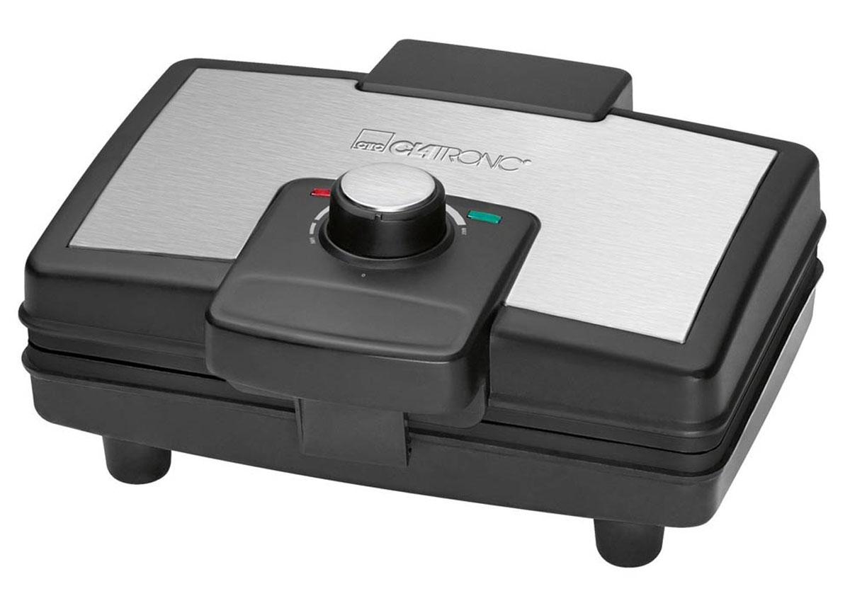 Clatronic WA 3606, Black Silver вафельницаWA 3606 schwarz-inoxВафельница Clatronic WA 3606 позволит приготовить за одну закладку 2 вафли. Прибор имеет мощность 800 Вт, антипригарное покрытие, а также удобный регулируемый термостат. Полную информативность о состоянии вафельницы обеспечат индикатор питания и готовности к работе.